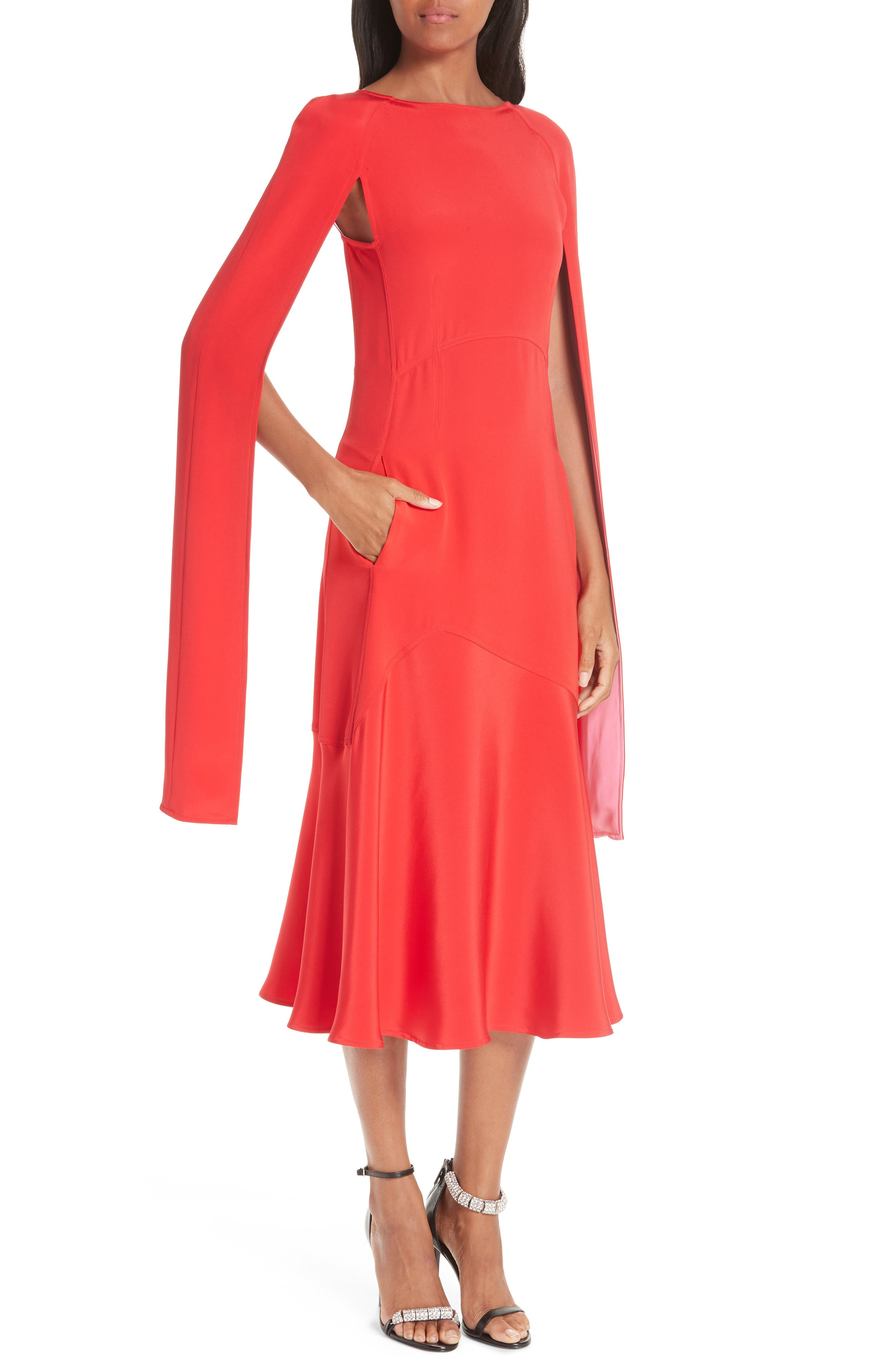 CALVIN KLEIN 205W39NYC, Cape Sleeve Silk Cady Midi Dress, Alternate thumbnail 5, color, RED CARNATION PINK