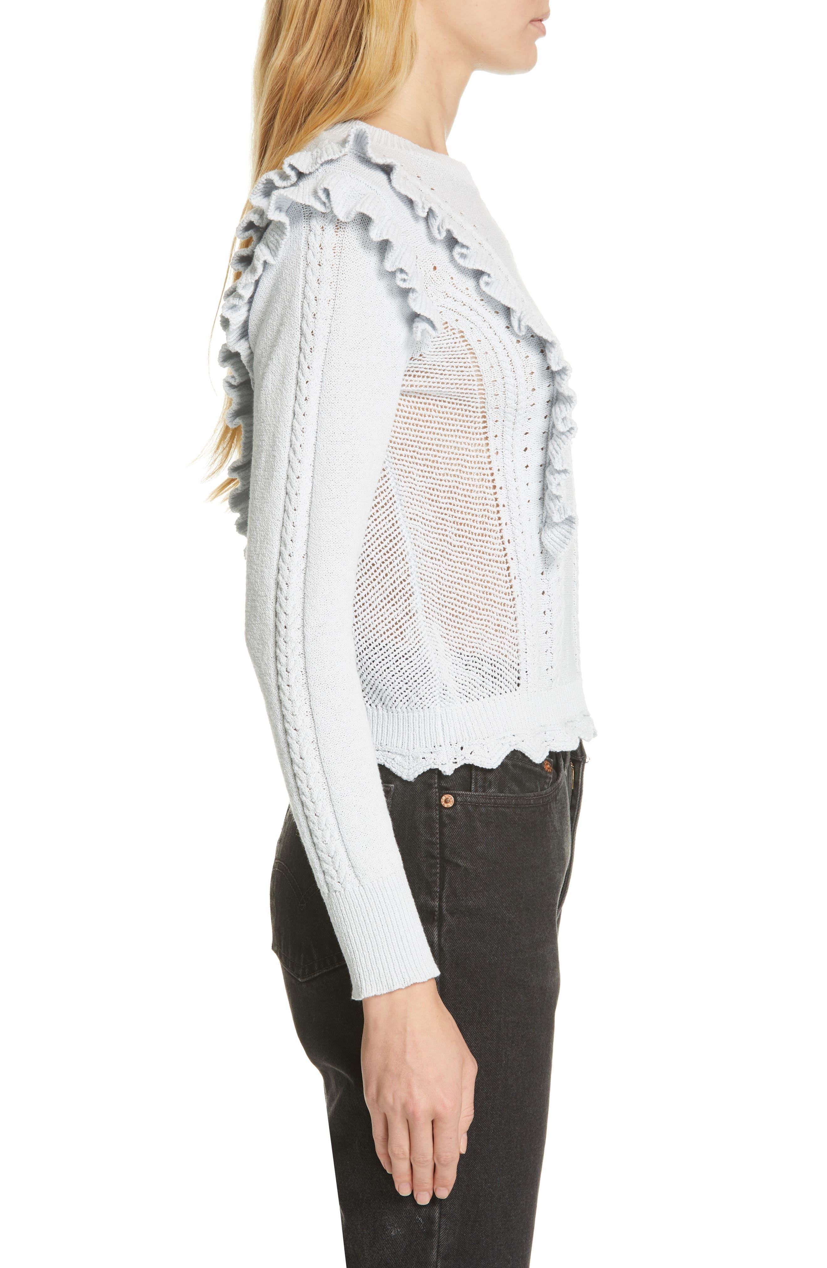 REBECCA TAYLOR, Ruffled Sweater, Alternate thumbnail 3, color, LIGHT MINT