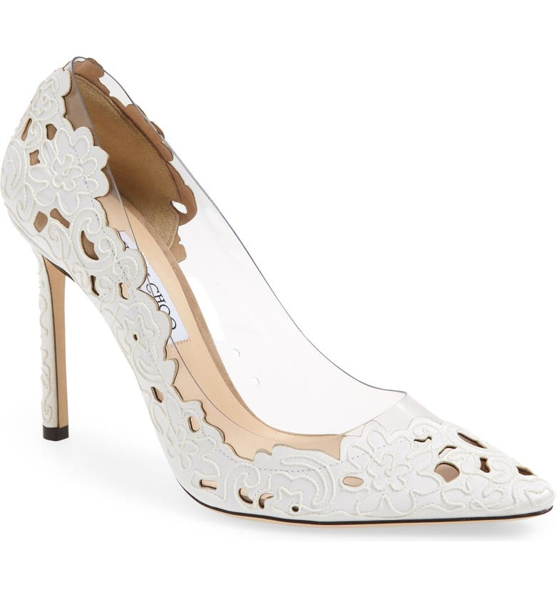 34fc571b303 Jimmy Choo Romy 100 White And Clear Pointy Toe Pumps In Perforated Lace  Fabric And Plexi