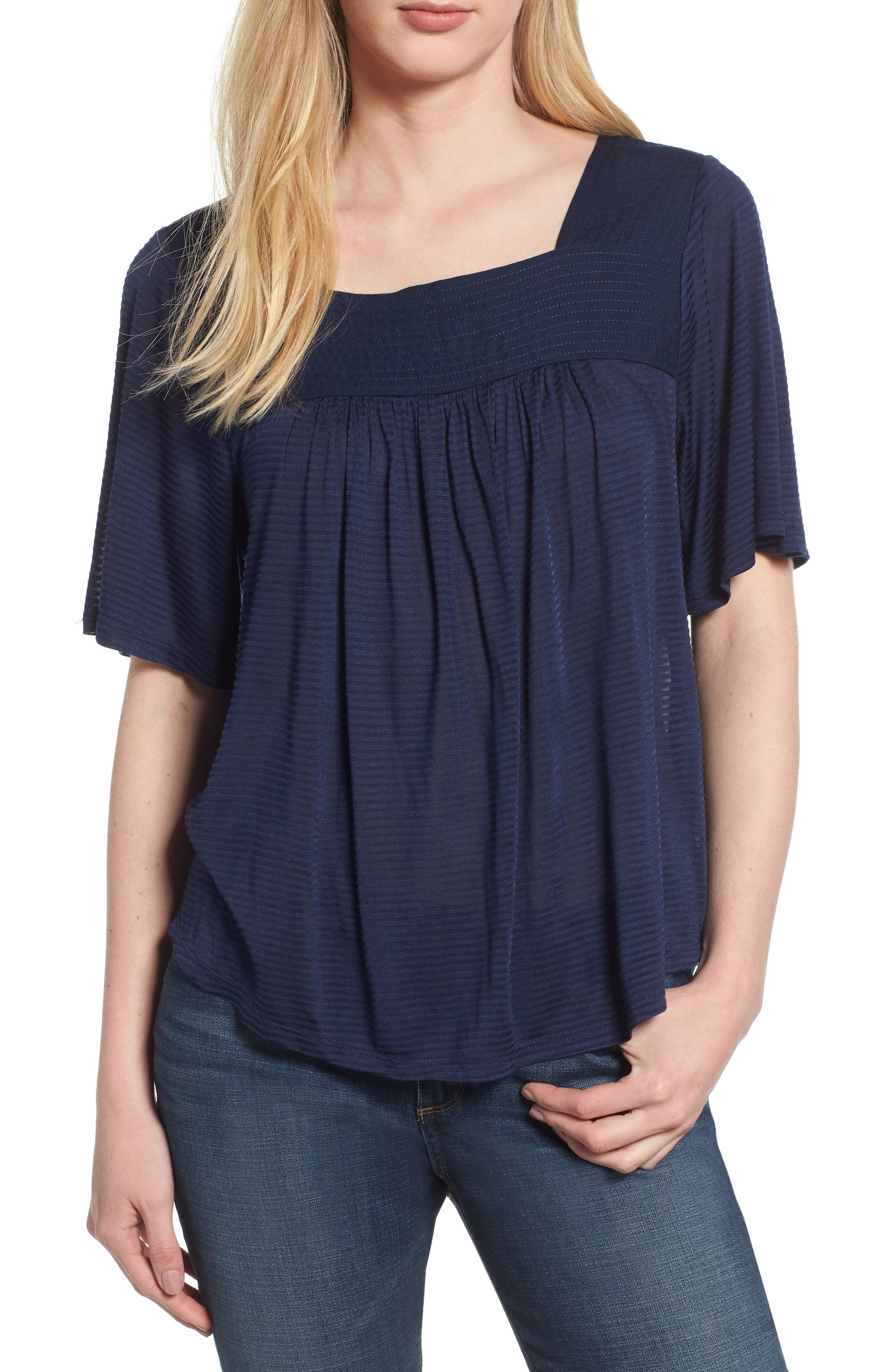 LUCKY BRAND, Shadow Stripe Peasant Top, Main thumbnail 1, color, AMERICAN NAVY