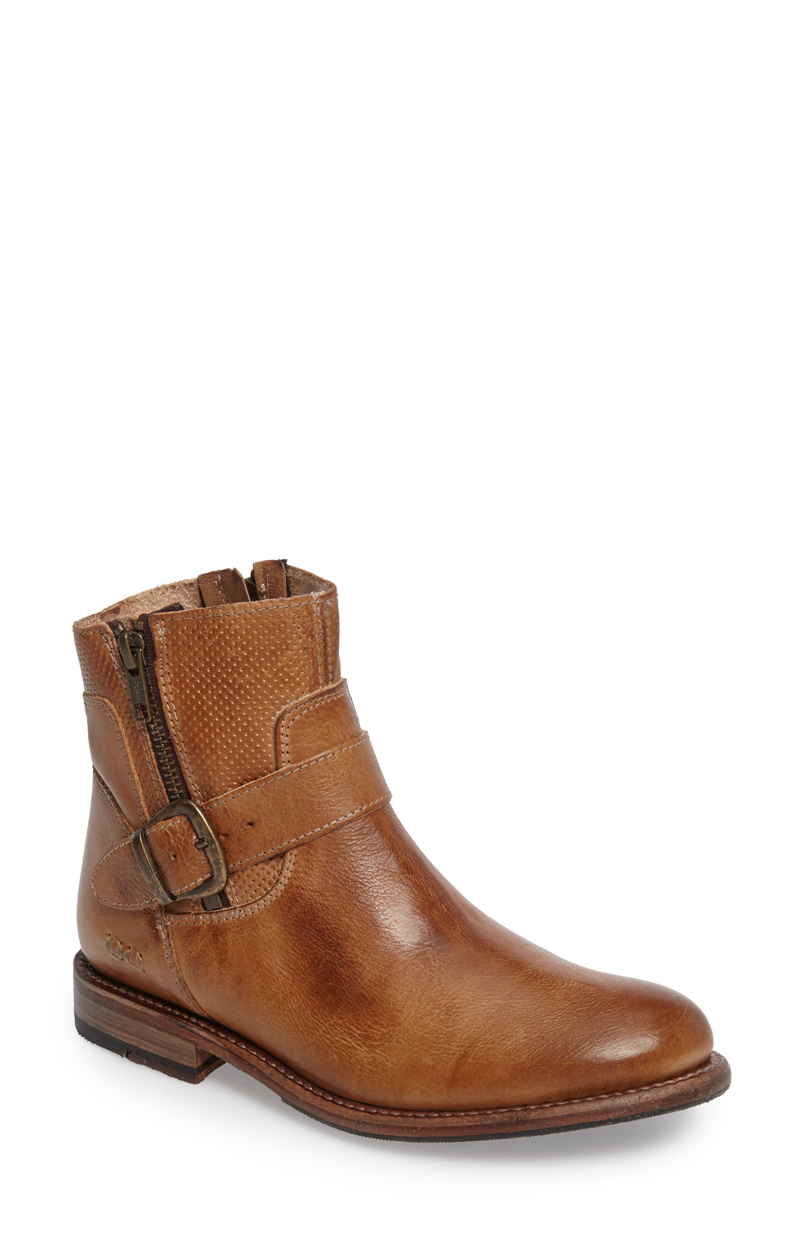 BED STU, Becca Buckle Boot, Main thumbnail 1, color, TAN RUSTIC LEATHER