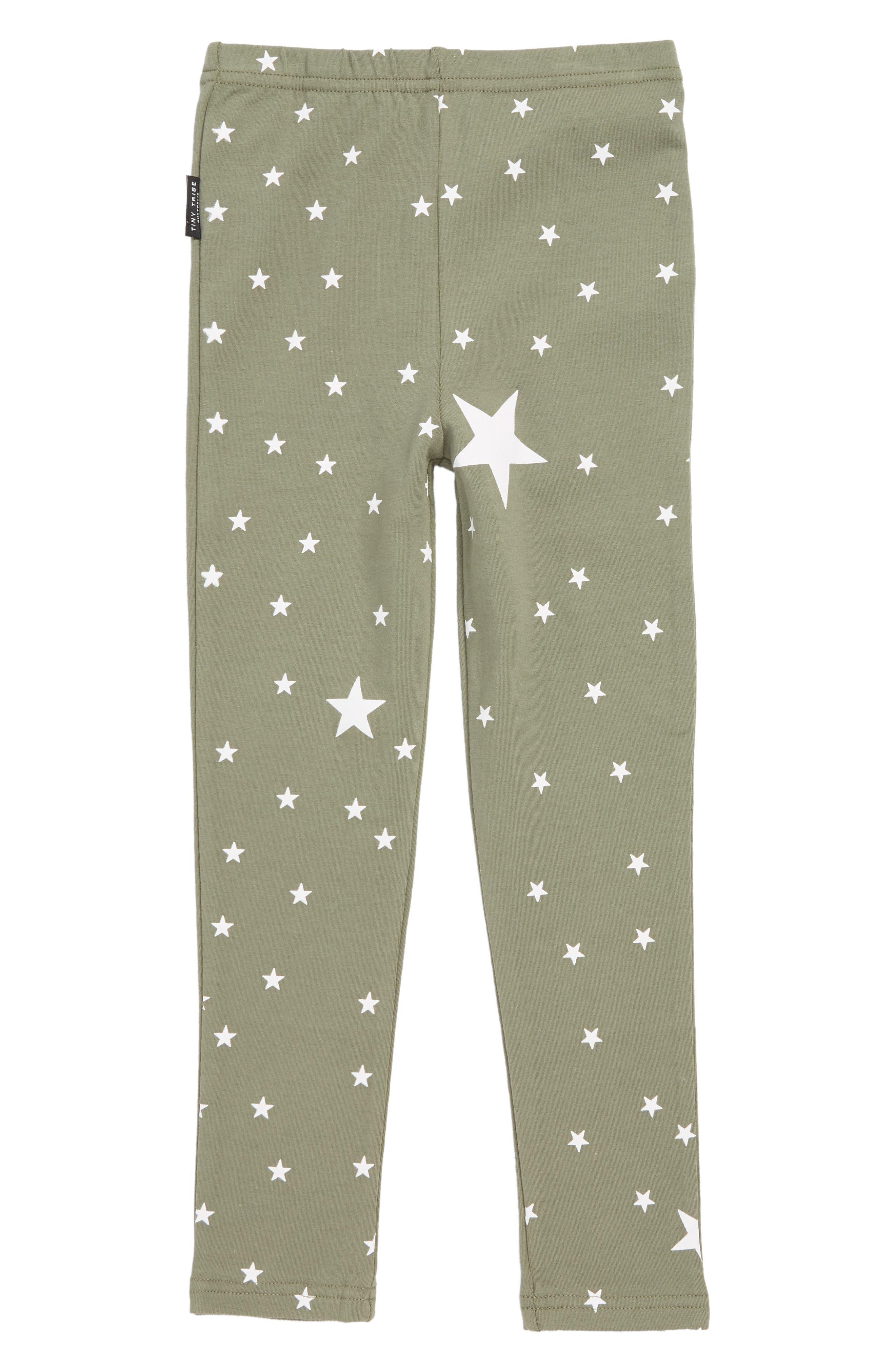 Toddler Girls Tiny Tribe Star Print Leggings Size 3T US  3 AUS  Green