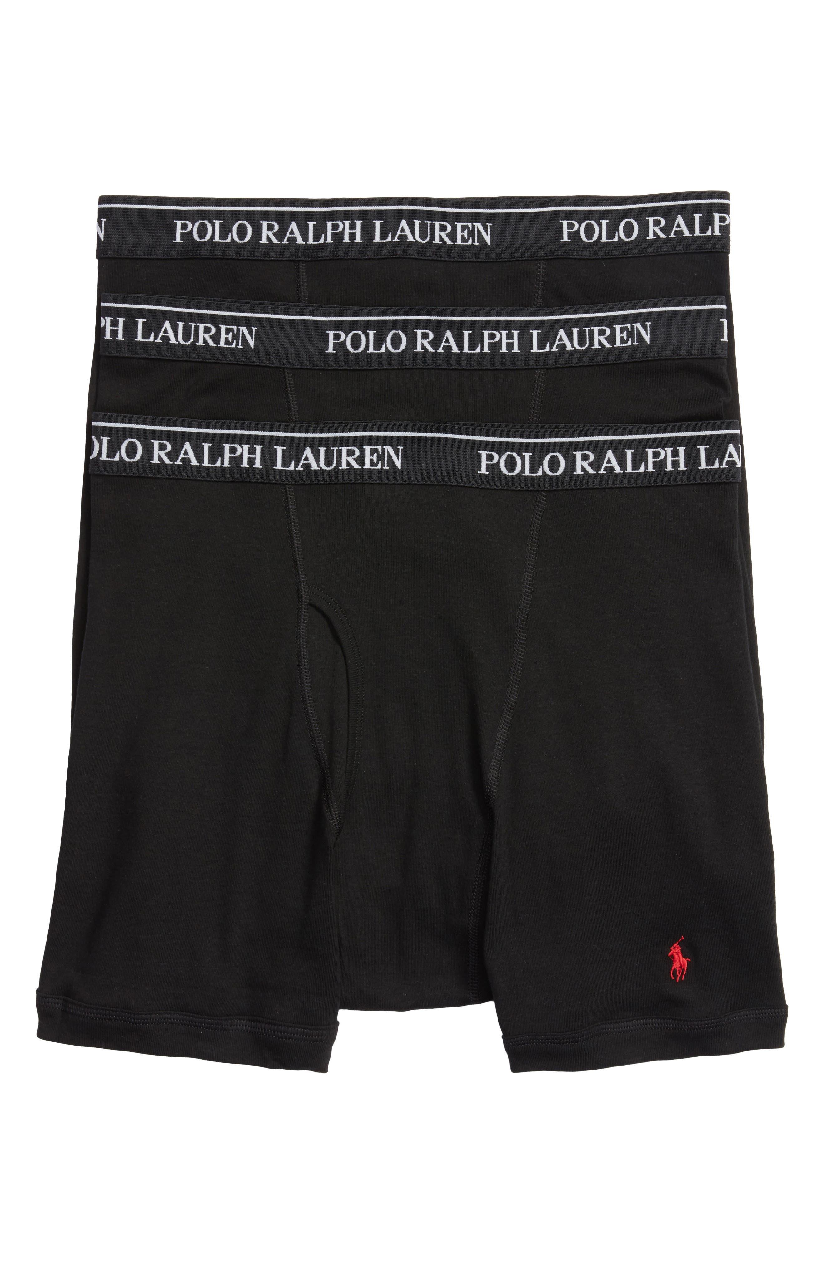 LAUREN RALPH LAUREN, Polo Ralph Lauren 3-Pack Cotton Boxer Briefs, Main thumbnail 1, color, POLO BLACK