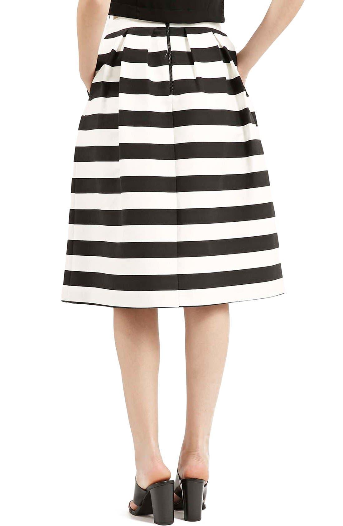 TOPSHOP, Stripe Midi Skirt, Alternate thumbnail 2, color, 001