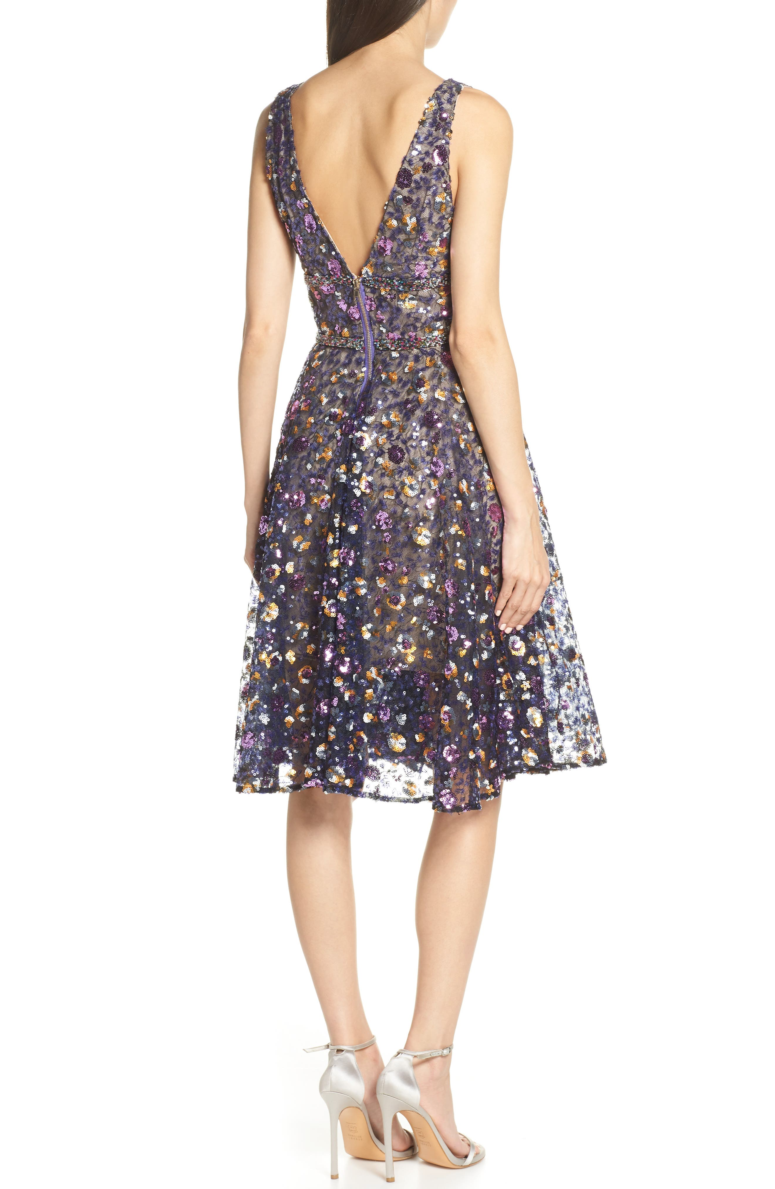 BRONX AND BANCO, Sequin Fit & Flare Dress, Alternate thumbnail 2, color, MULTICOLOR