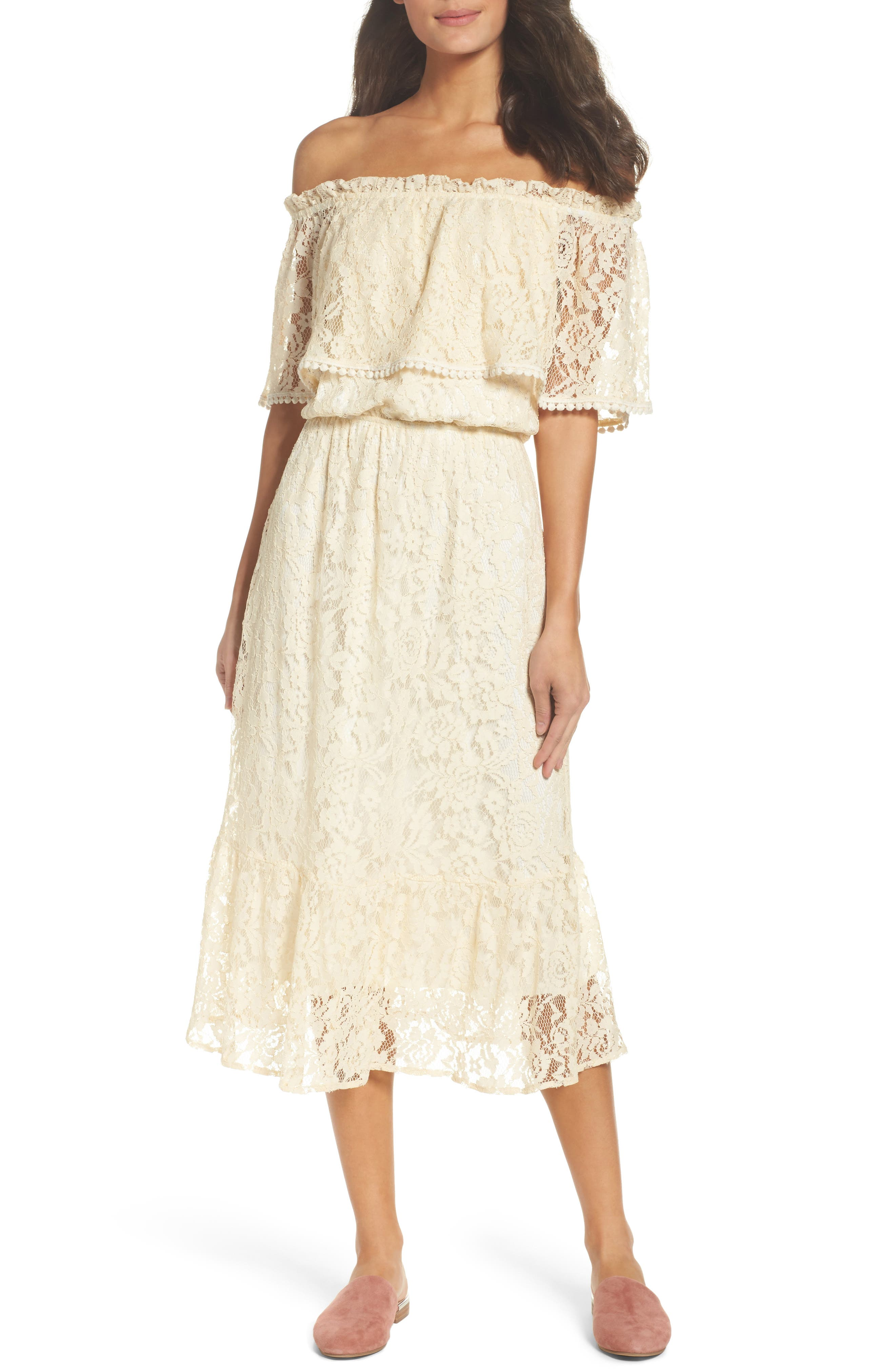 Fraiche By J Popover Midi Dress, Ivory