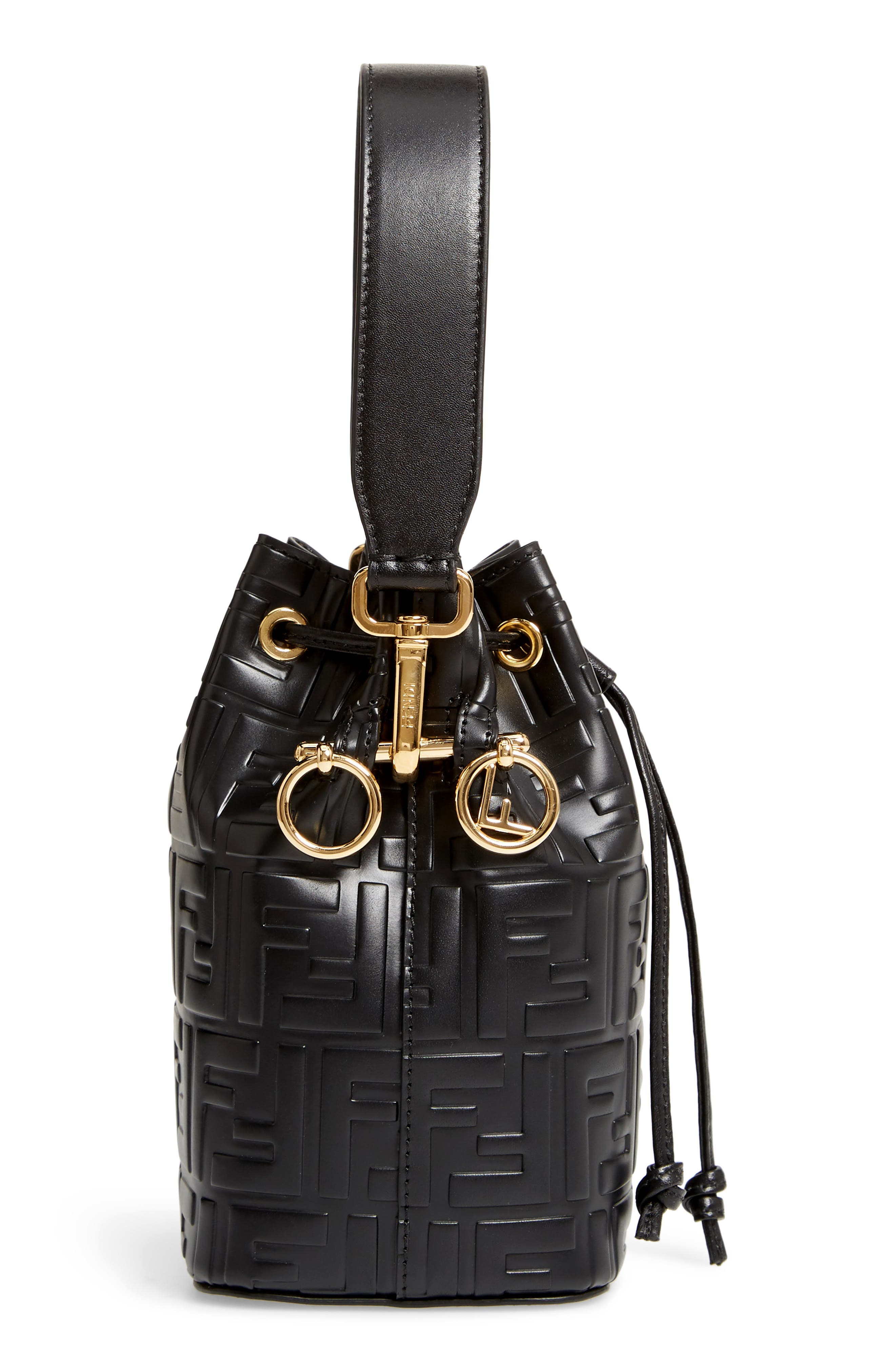 FENDI, Mini Mon Tresor Logo Leather Bucket Bag, Alternate thumbnail 6, color, NERO/ ORO SOFT