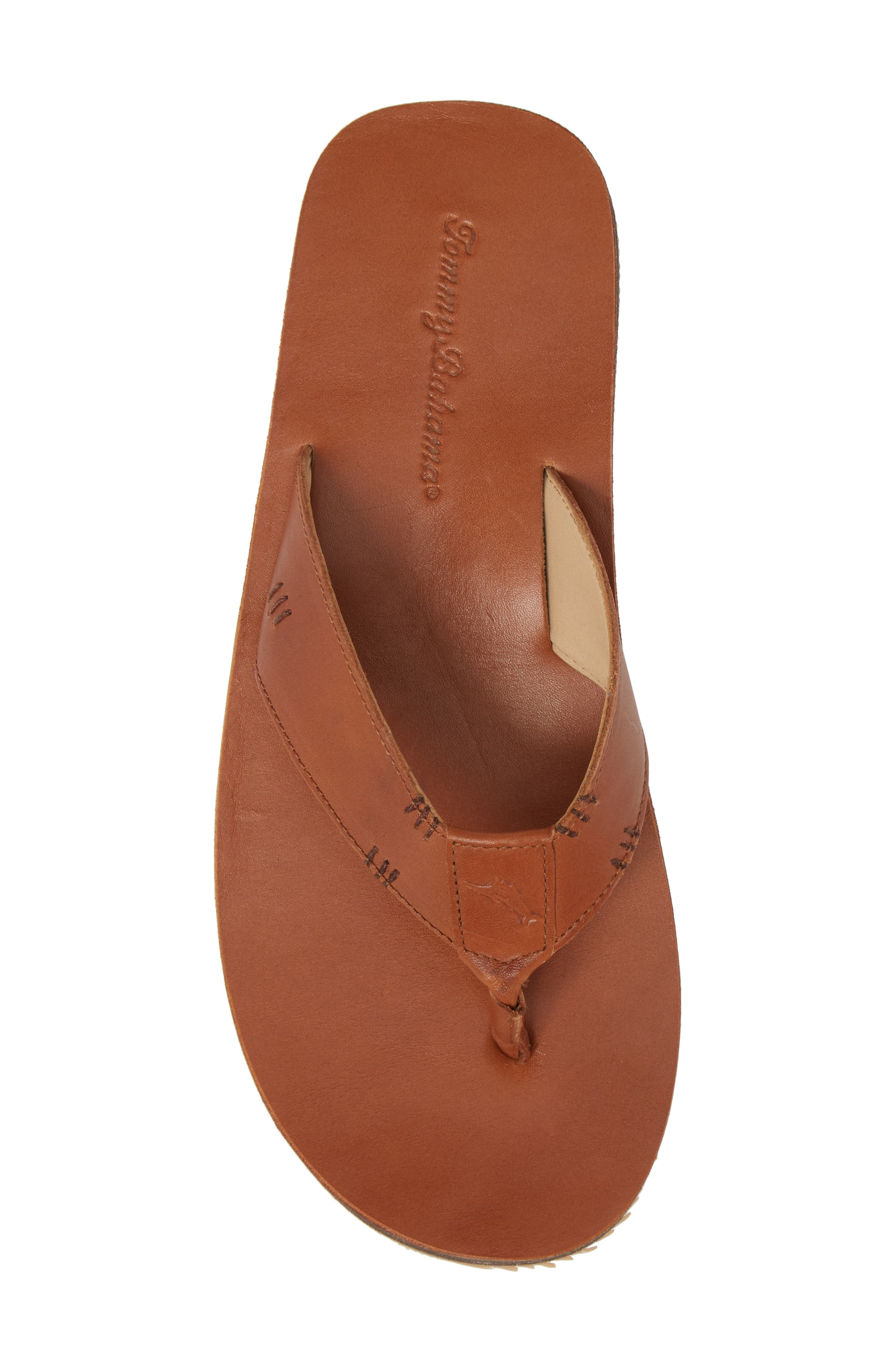 TOMMY BAHAMA, Adderly Flip Flop, Alternate thumbnail 5, color, TAN LEATHER