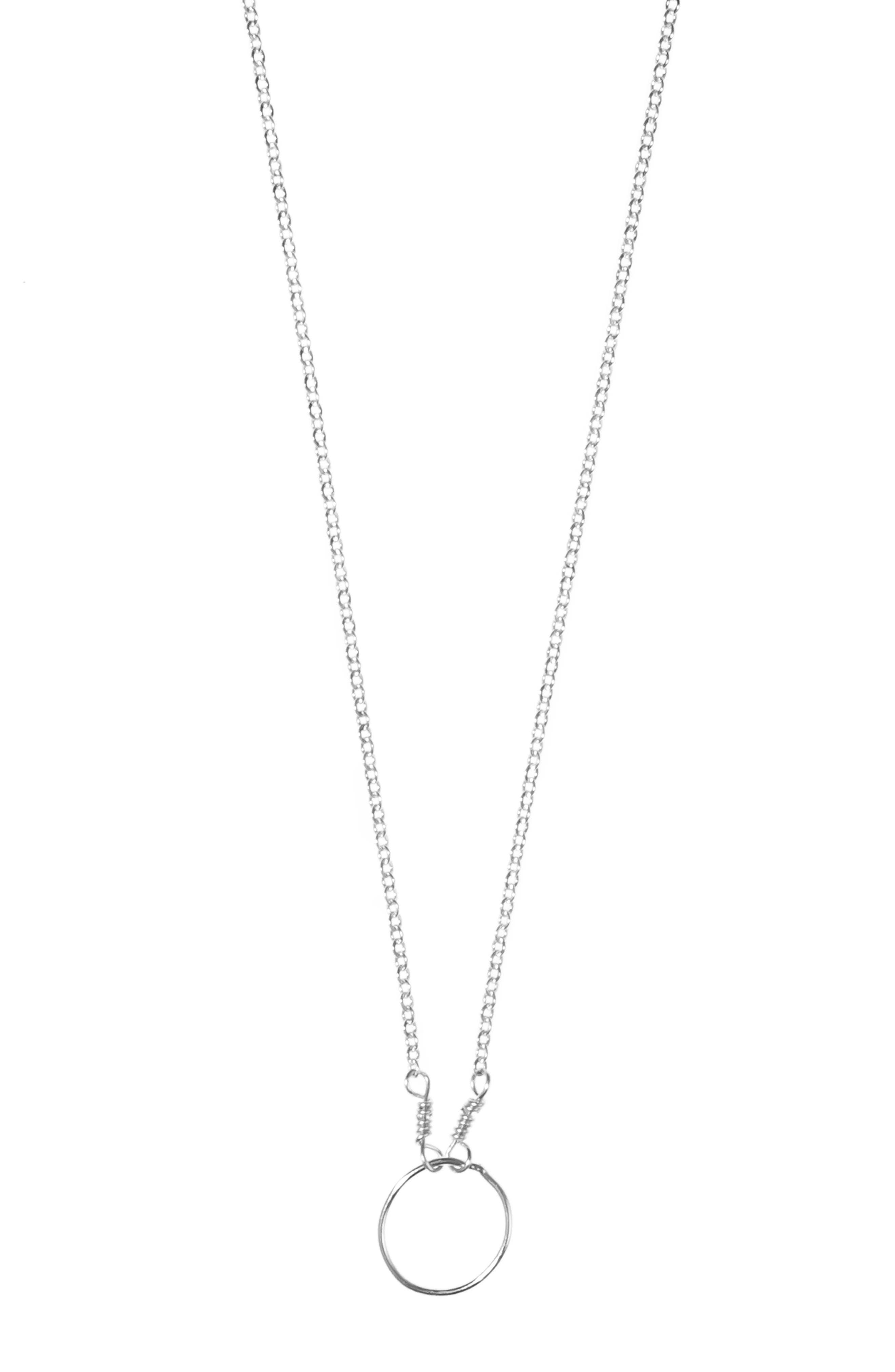 NASHELLE, Pure Moon Pendant Necklace, Main thumbnail 1, color, SILVER