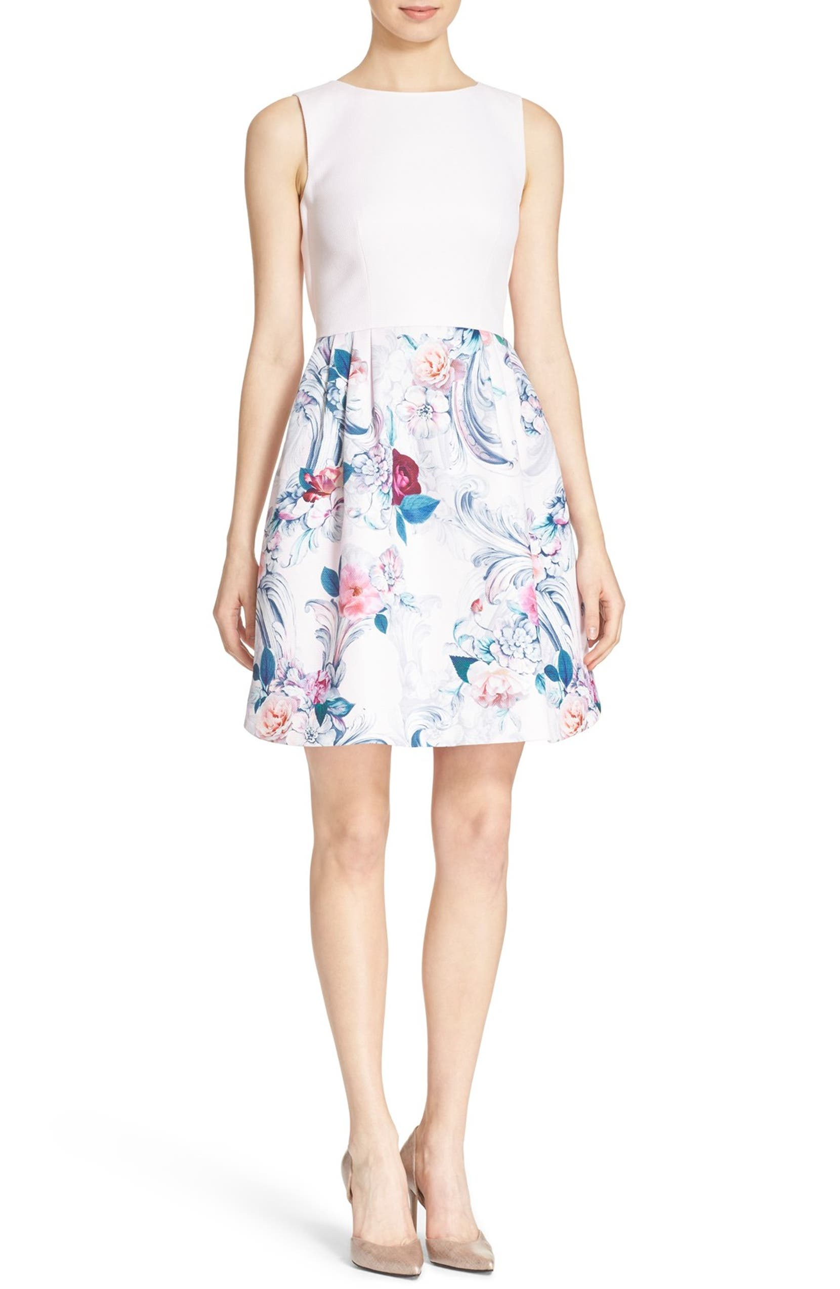 63b9b8d9f4f6 Ted Baker London  Eilah  Acanthus Scroll Floral Print Fit   Flare Dress