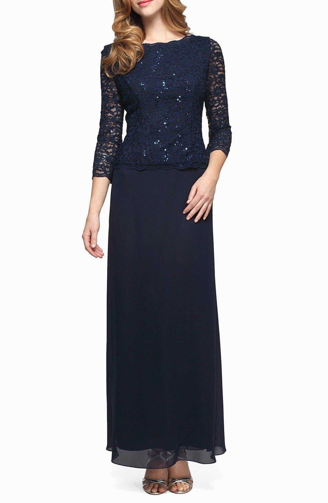 Petite Alex Evenings Sequin Lace & Chiffon Gown, Blue