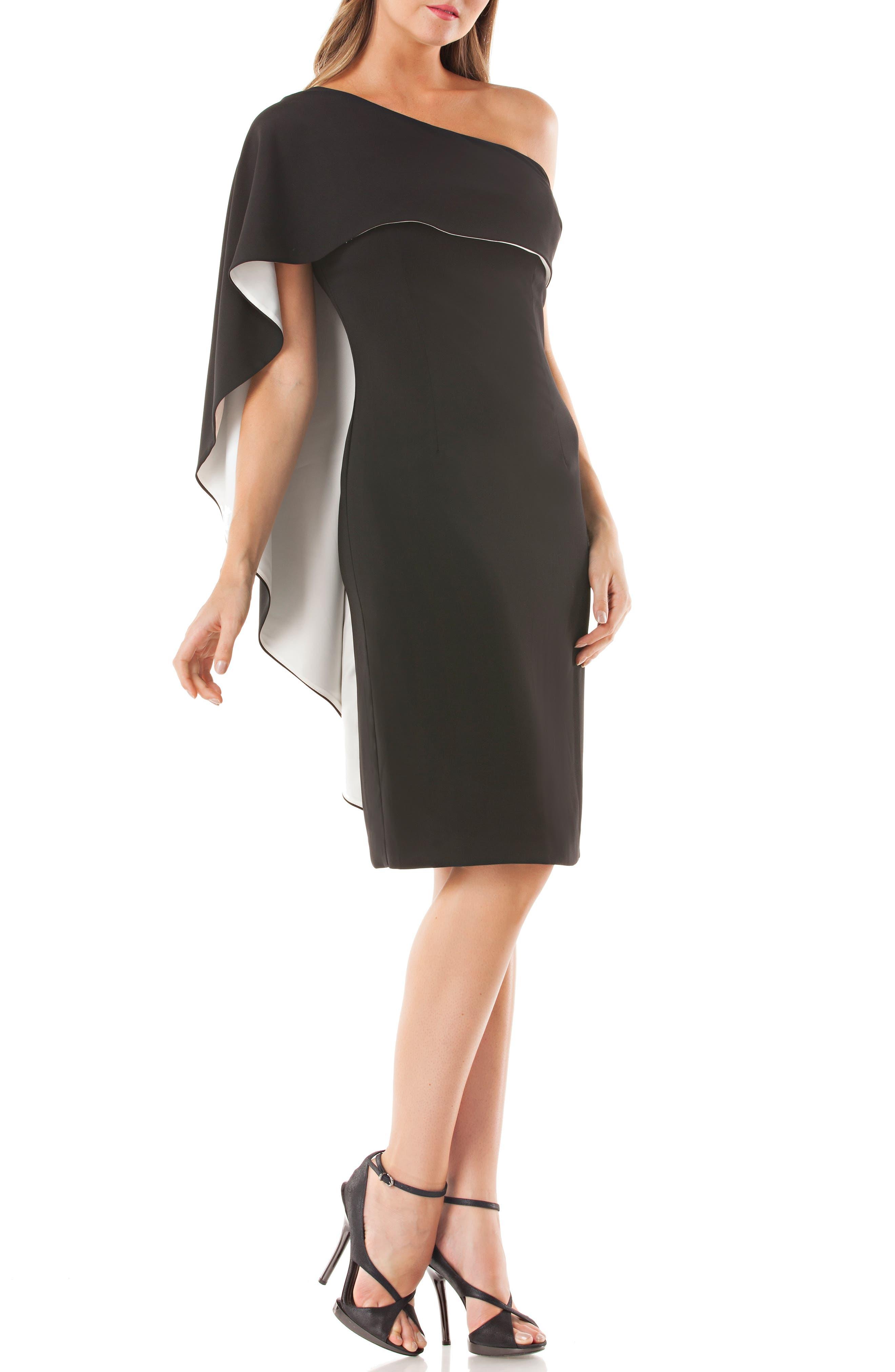 Carmen Marc Valvo Infusion One-Shoulder Cape Sheath Dress, Black