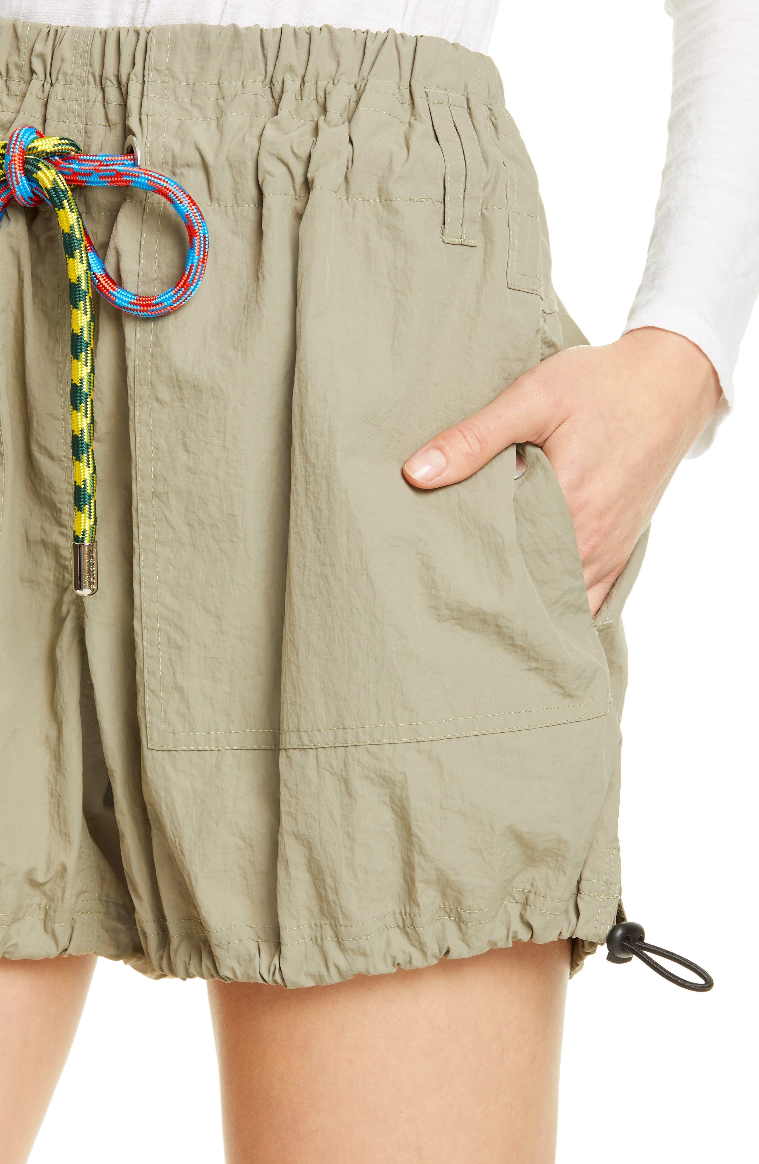 PROENZA SCHOULER, PSWL Drawstring Waist Parachute Shorts, Alternate thumbnail 4, color, MOSS