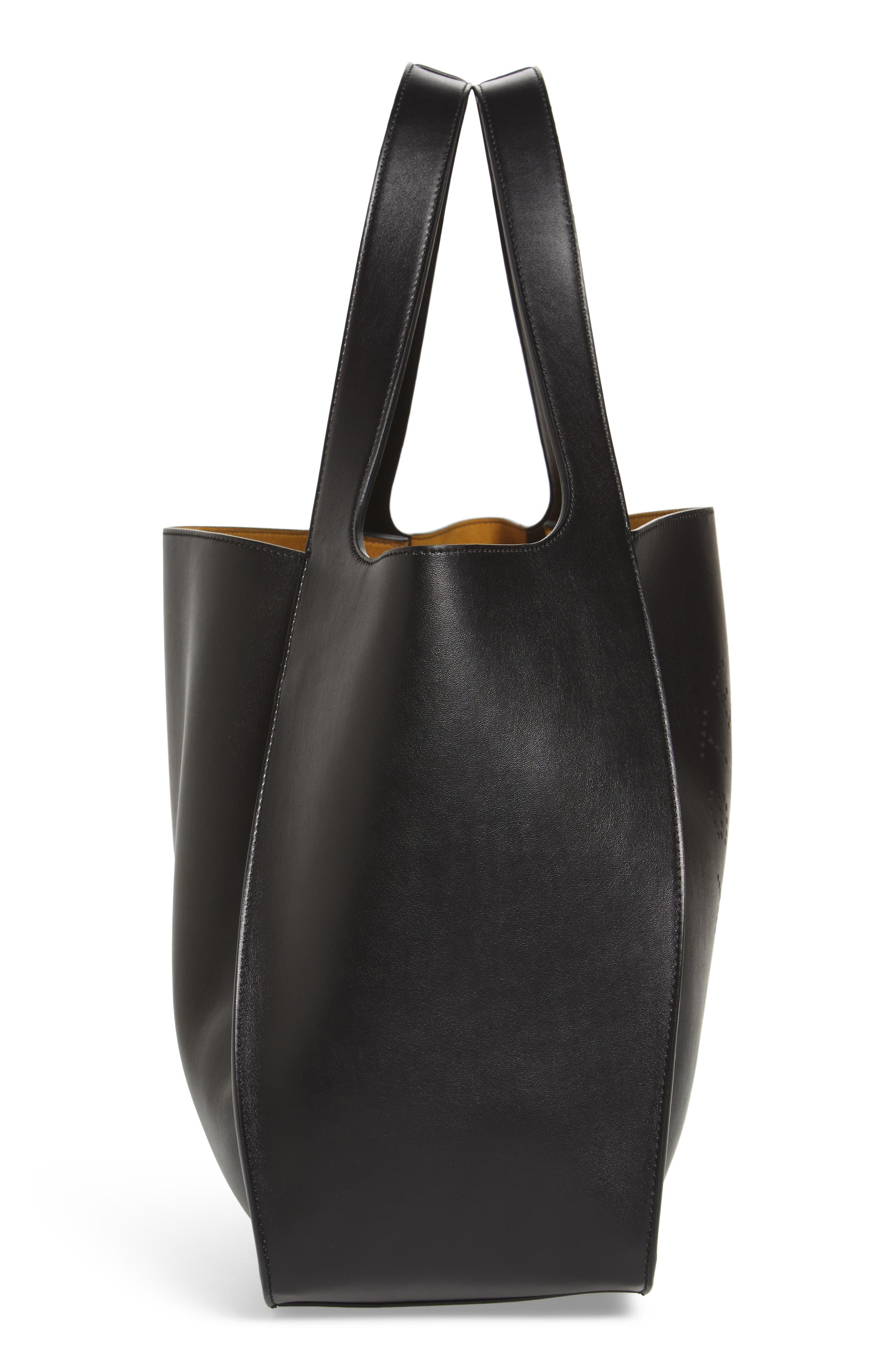 STELLA MCCARTNEY, Medium Perforated Logo Faux Leather Tote, Alternate thumbnail 5, color, BLACK