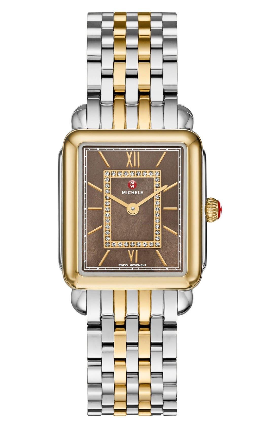 MICHELE, Deco II Mid 16mm Bracelet Watchband, Alternate thumbnail 4, color, SILVER/ GOLD