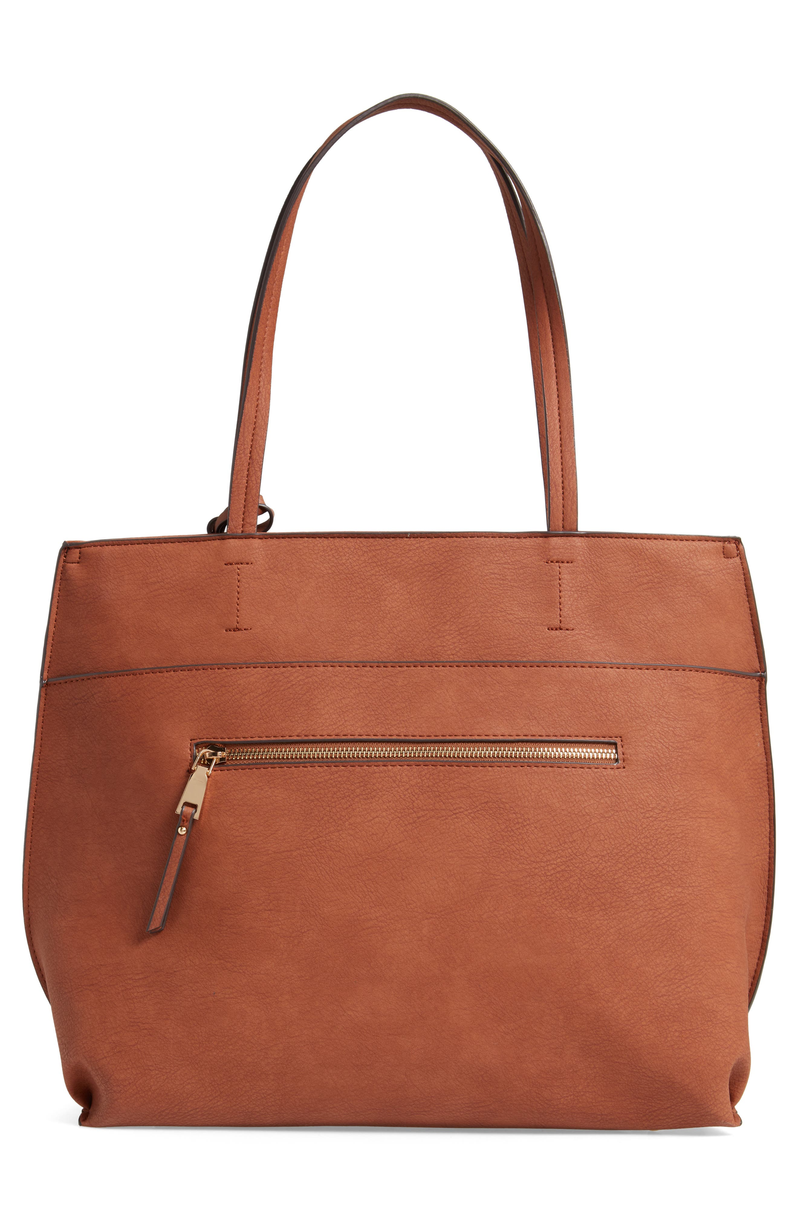 SOLE SOCIETY, Lyndi Faux Leather Tote, Alternate thumbnail 4, color, COGNAC