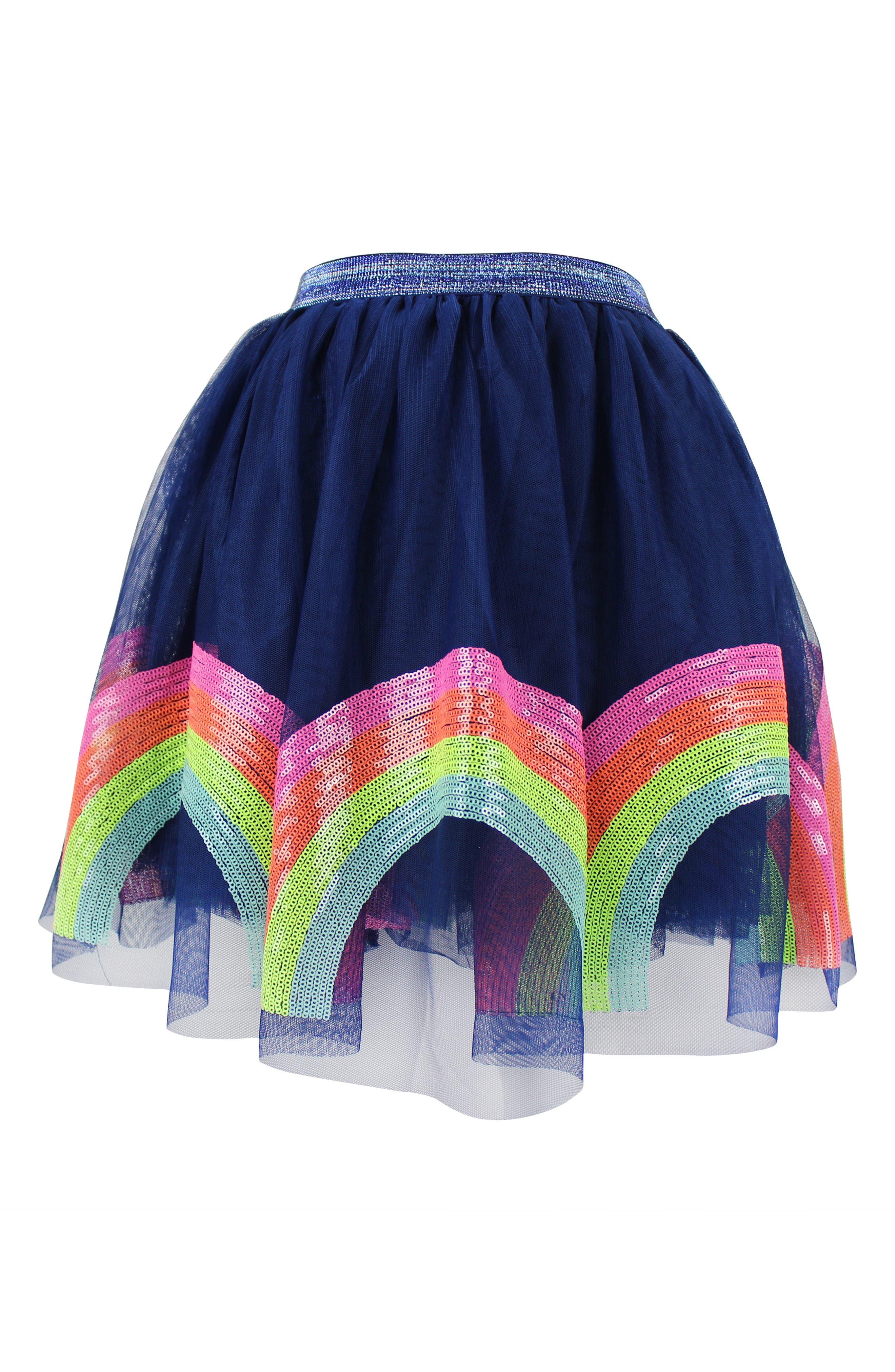 LOLA & THE BOYS, Rainbow Sequin Tutu Skirt, Main thumbnail 1, color, NAVY BLUE