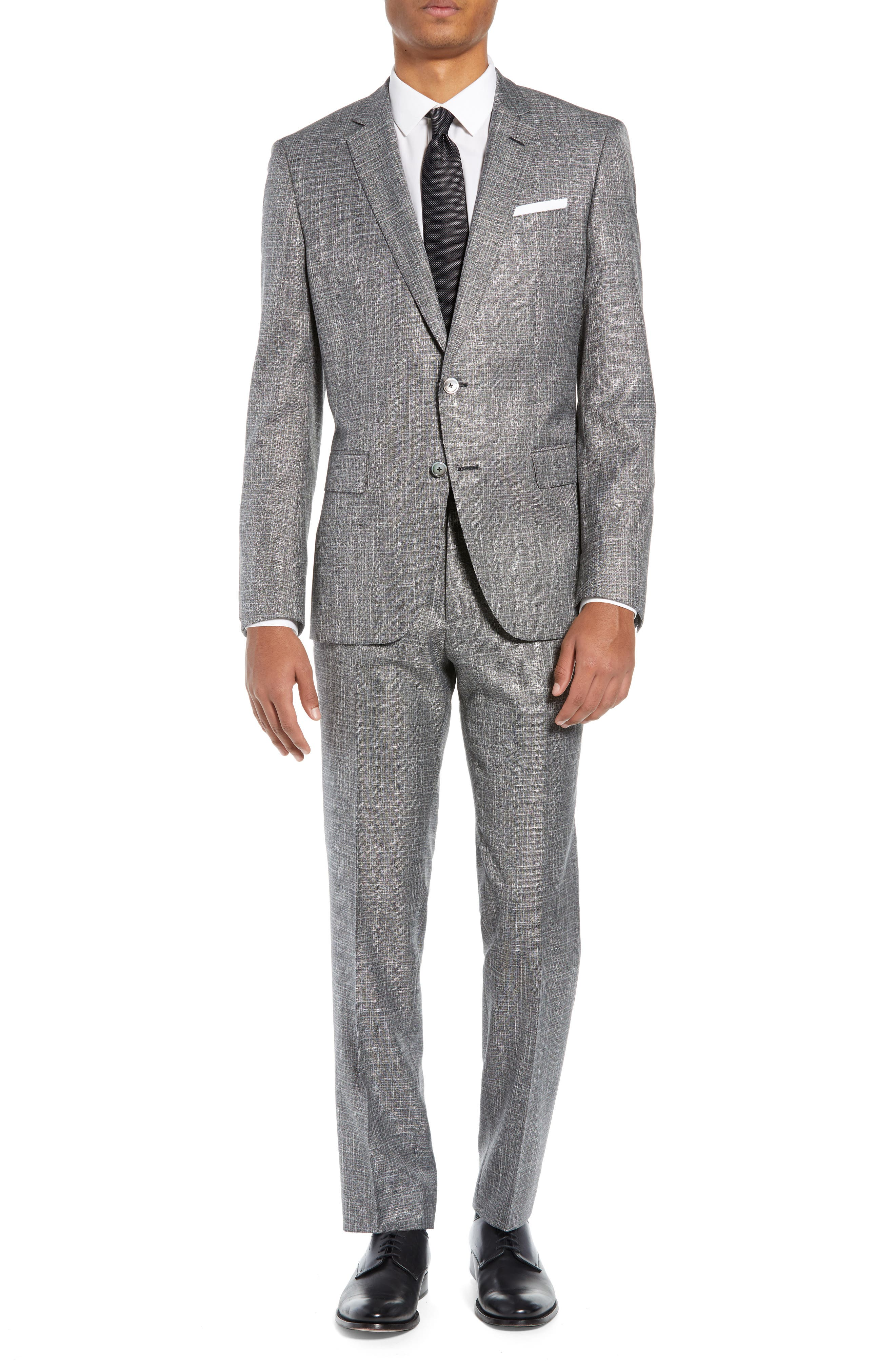 BOSS Hutson/Gander Slim Fit Solid Wool Blend Suit, Main, color, MEDIUM GREY