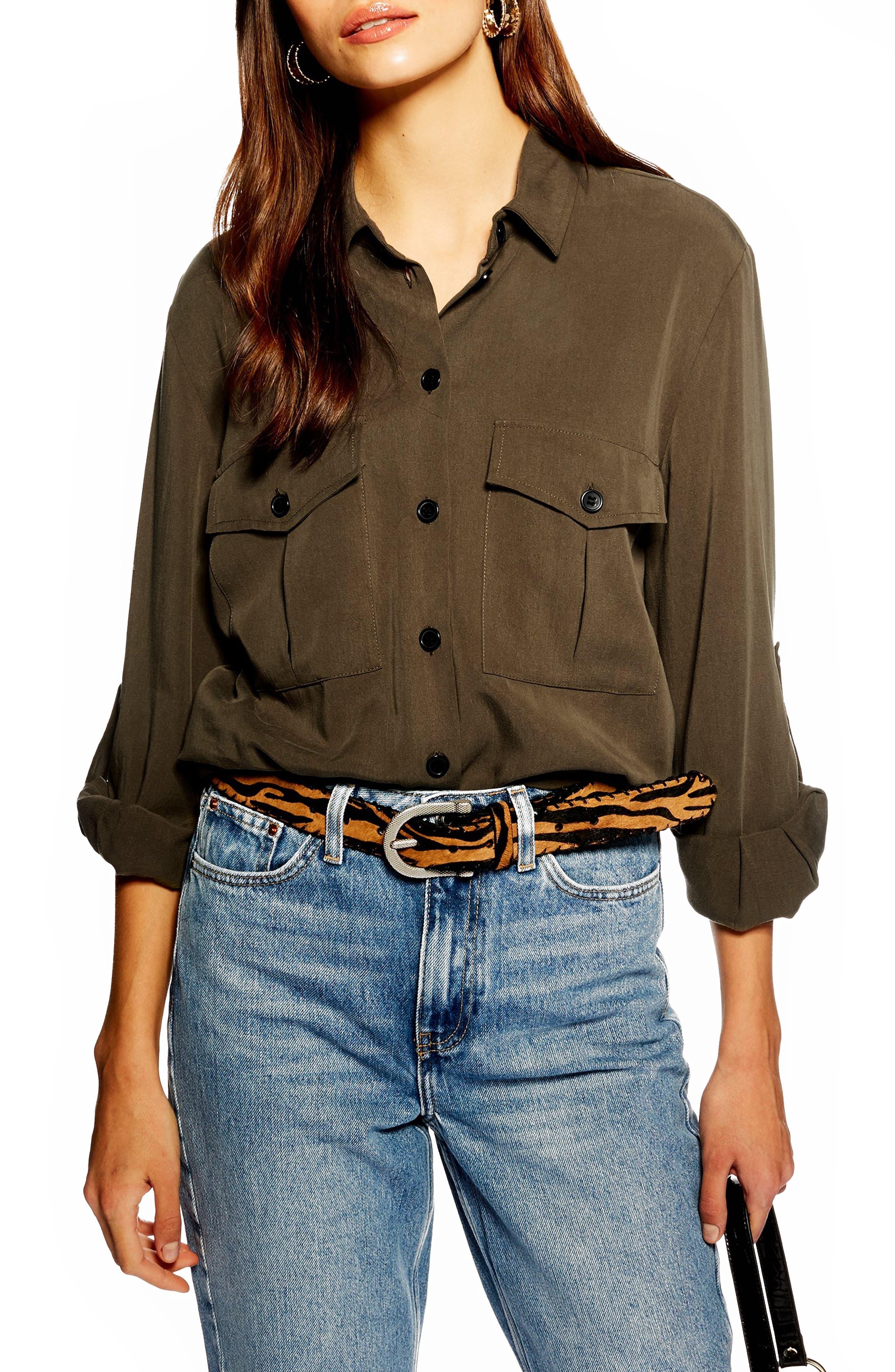 TOPSHOP Double Pocket Utility Shirt, Main, color, OLIVE