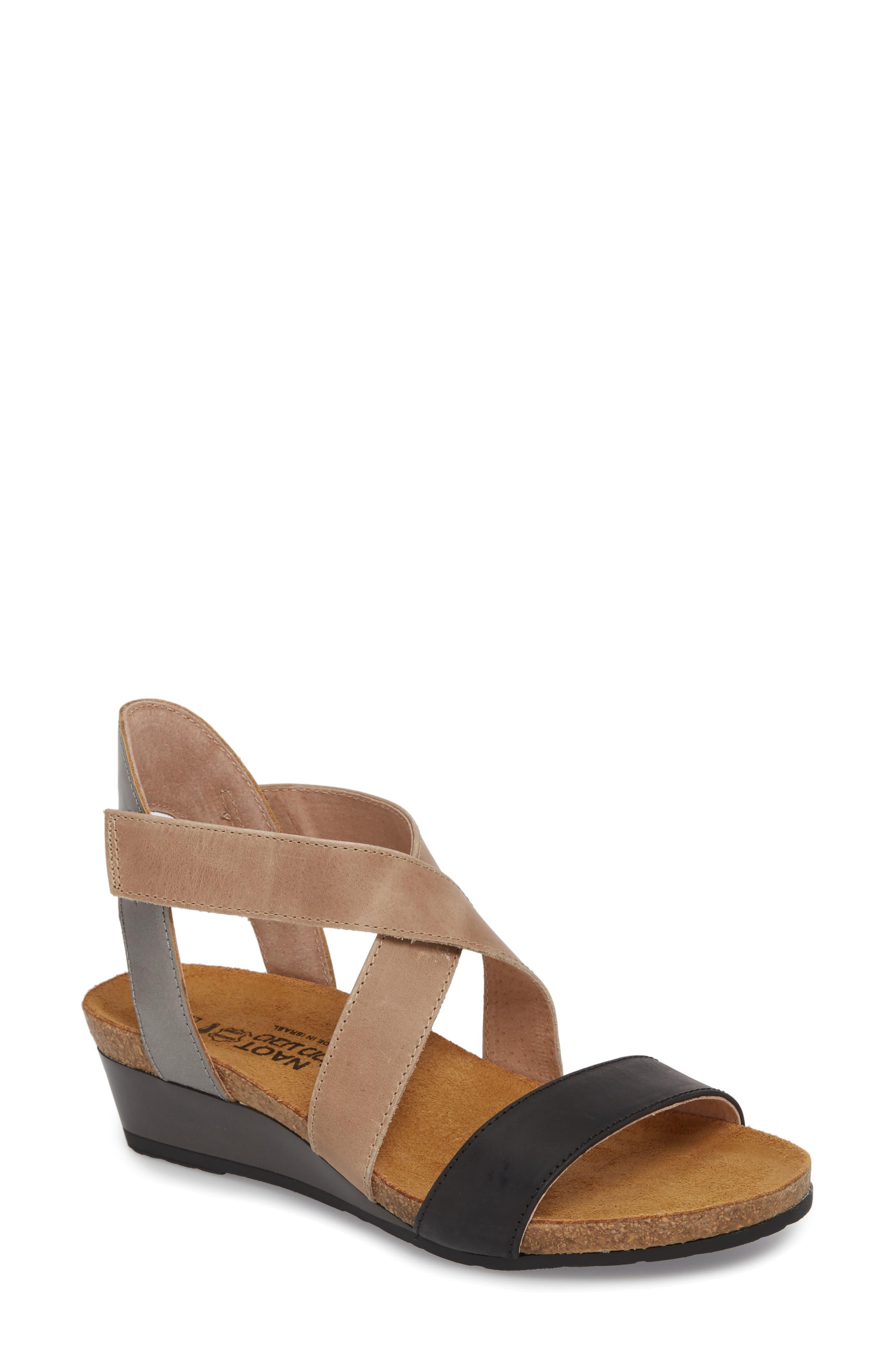 NAOT Vixen Wedge Sandal, Main, color, OILY COAL LEATHER