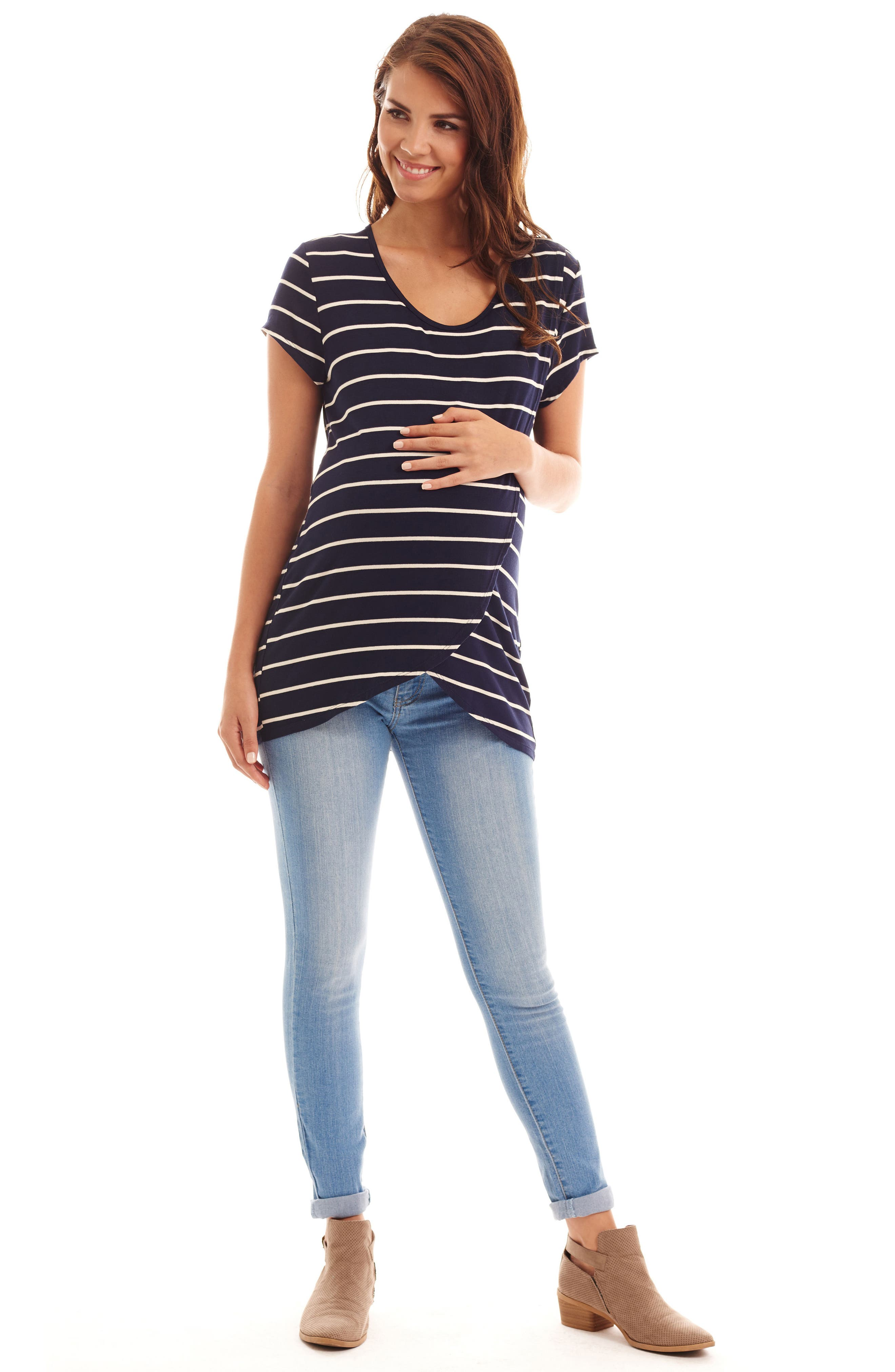 EVERLY GREY, Jonelle Stripe Maternity/Nursing Top, Alternate thumbnail 4, color, NAVY STRIPE