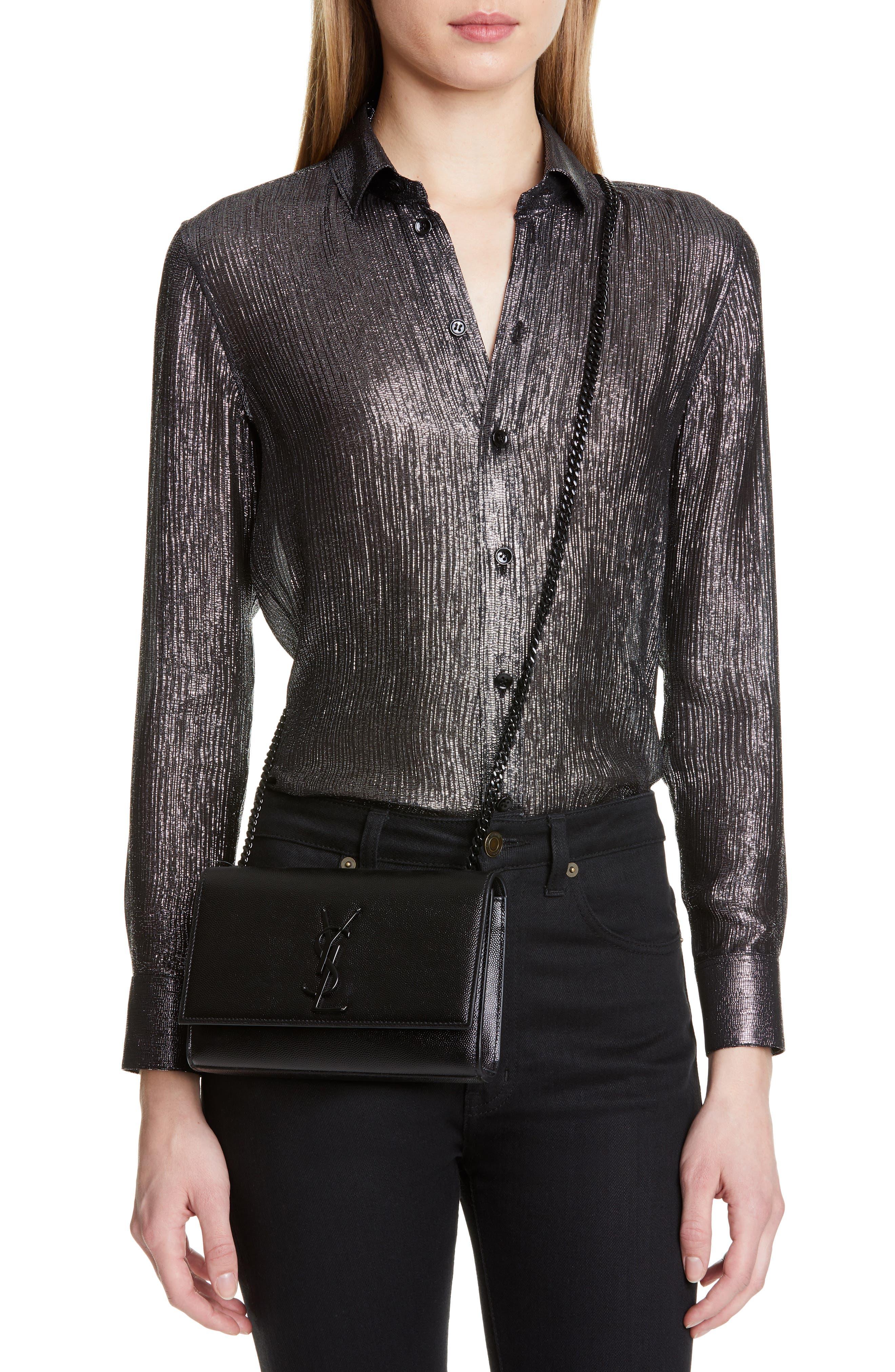 SAINT LAURENT, Small Kate Leather Shoulder Bag, Alternate thumbnail 2, color, BLACK
