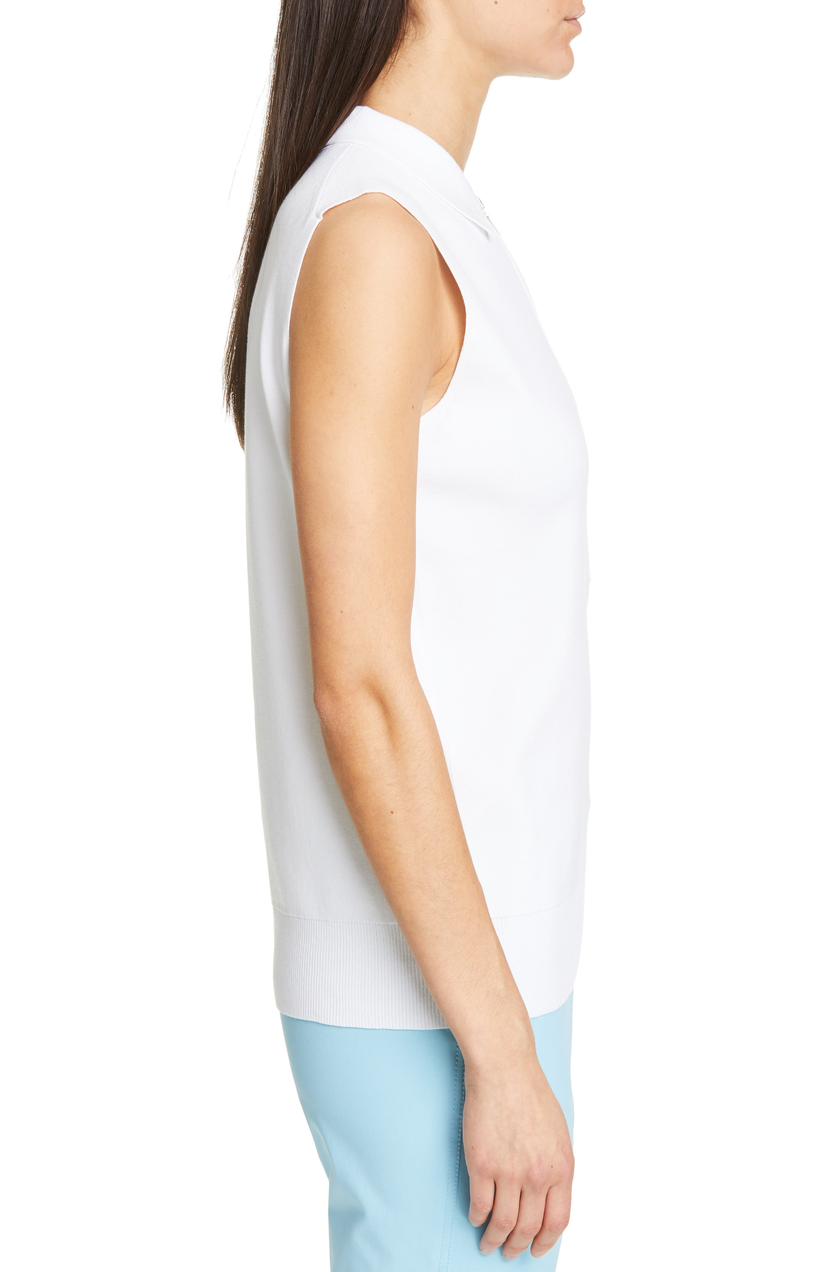 LAFAYETTE 148 NEW YORK, Lafayette Fitted Sleeveless Polo Sweater, Alternate thumbnail 3, color, WHITE