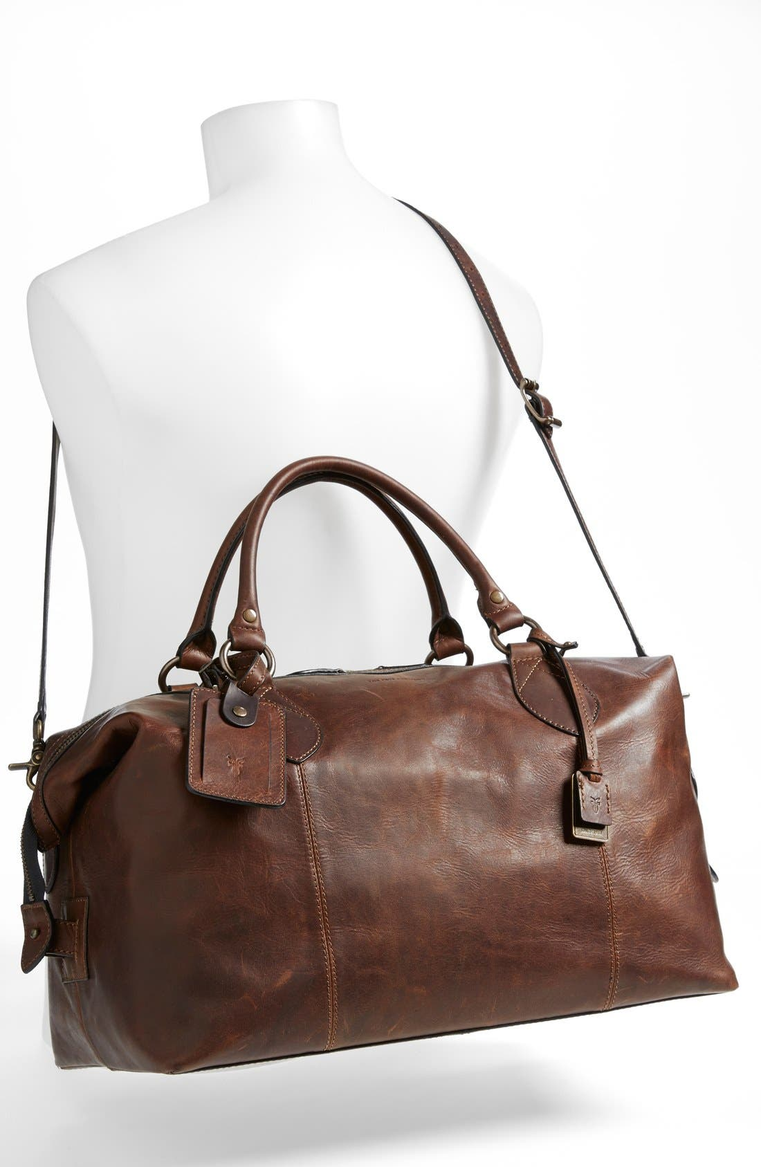 FRYE, 'Logan' Leather Overnight Bag, Alternate thumbnail 5, color, DARK BROWN