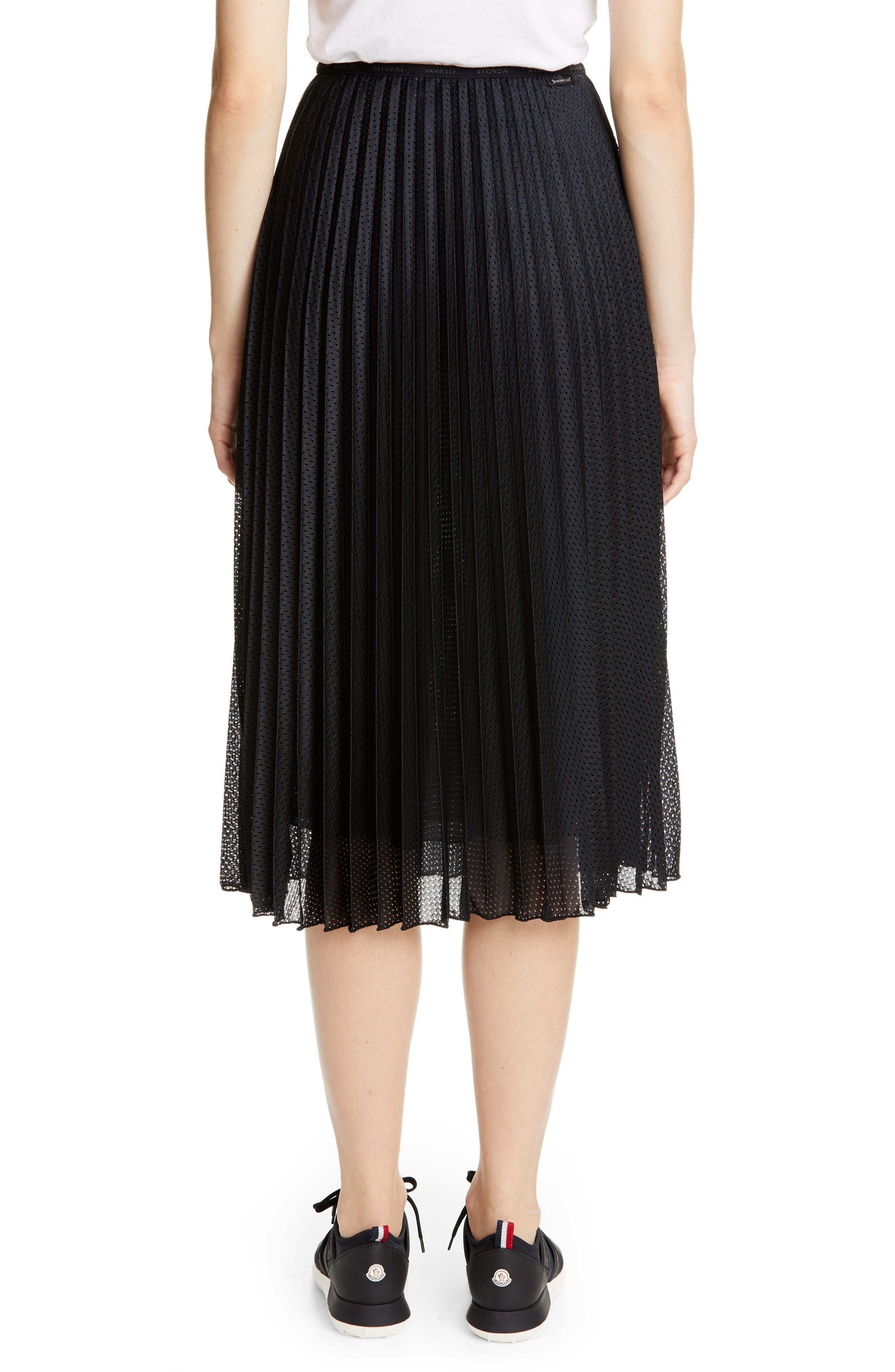 MONCLER, Pleated Mesh Skirt, Alternate thumbnail 2, color, 001