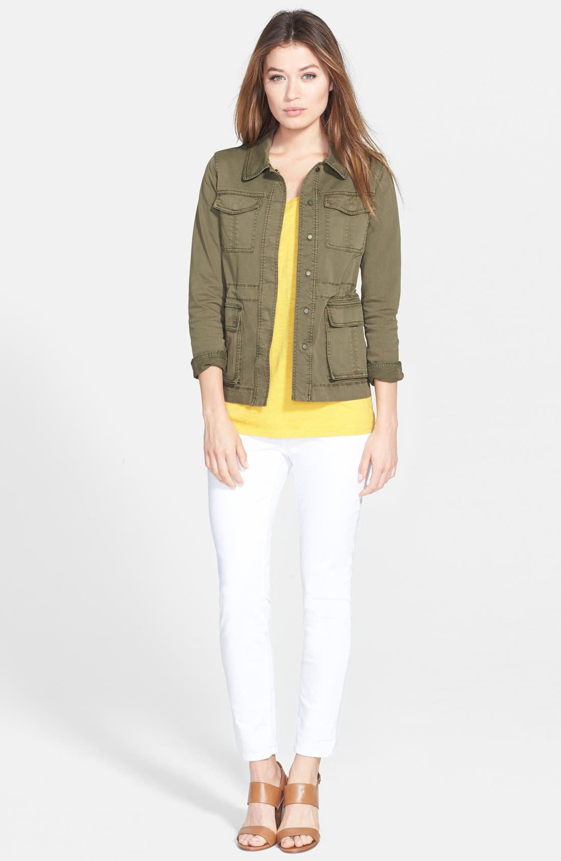 EILEEN FISHER, The Fisher Project Classic Collar Stretch Twill Jacket, Alternate thumbnail 4, color, 301