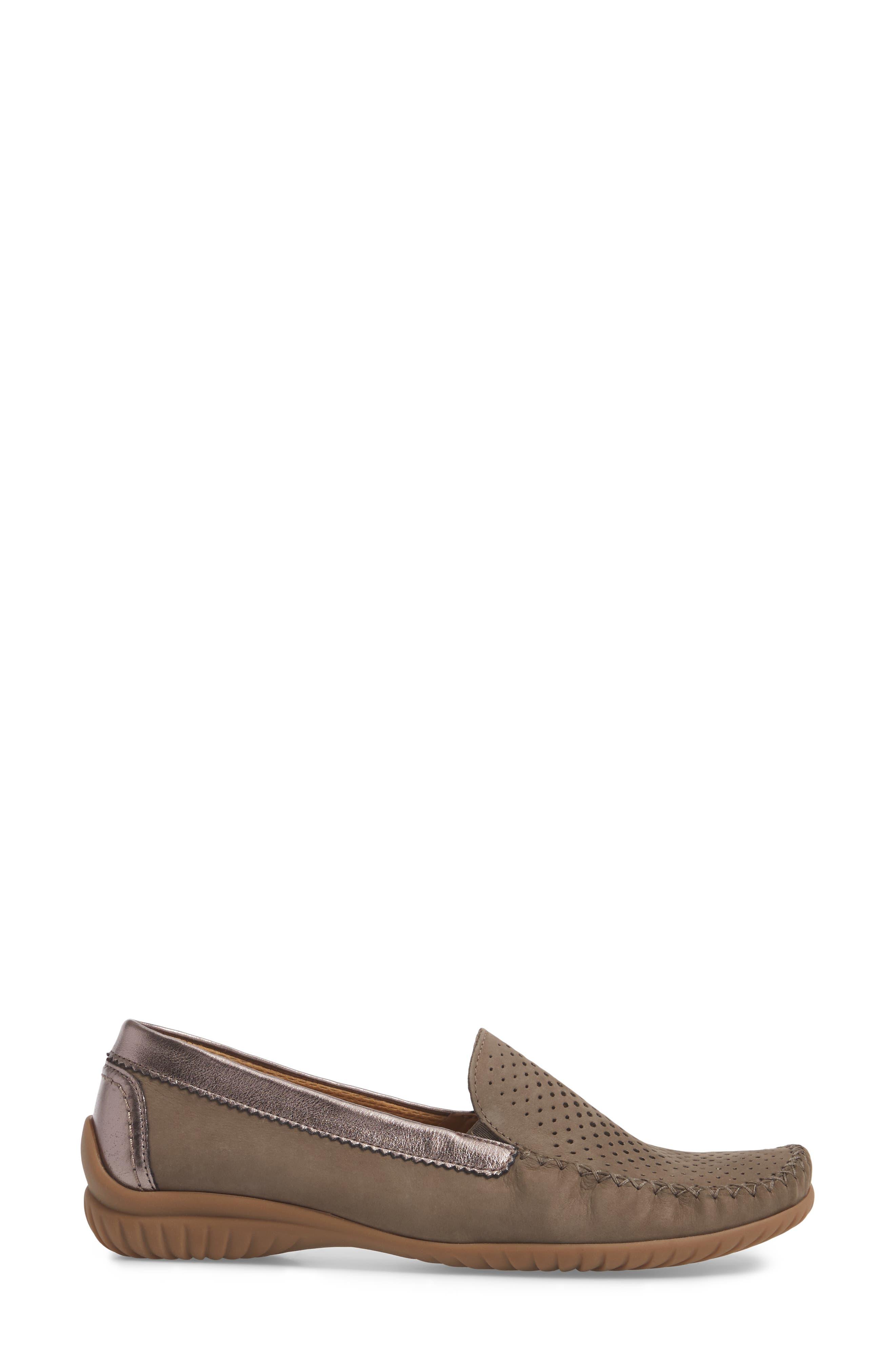 GABOR, Moccasin Loafer, Alternate thumbnail 3, color, BEIGE NUBUCK