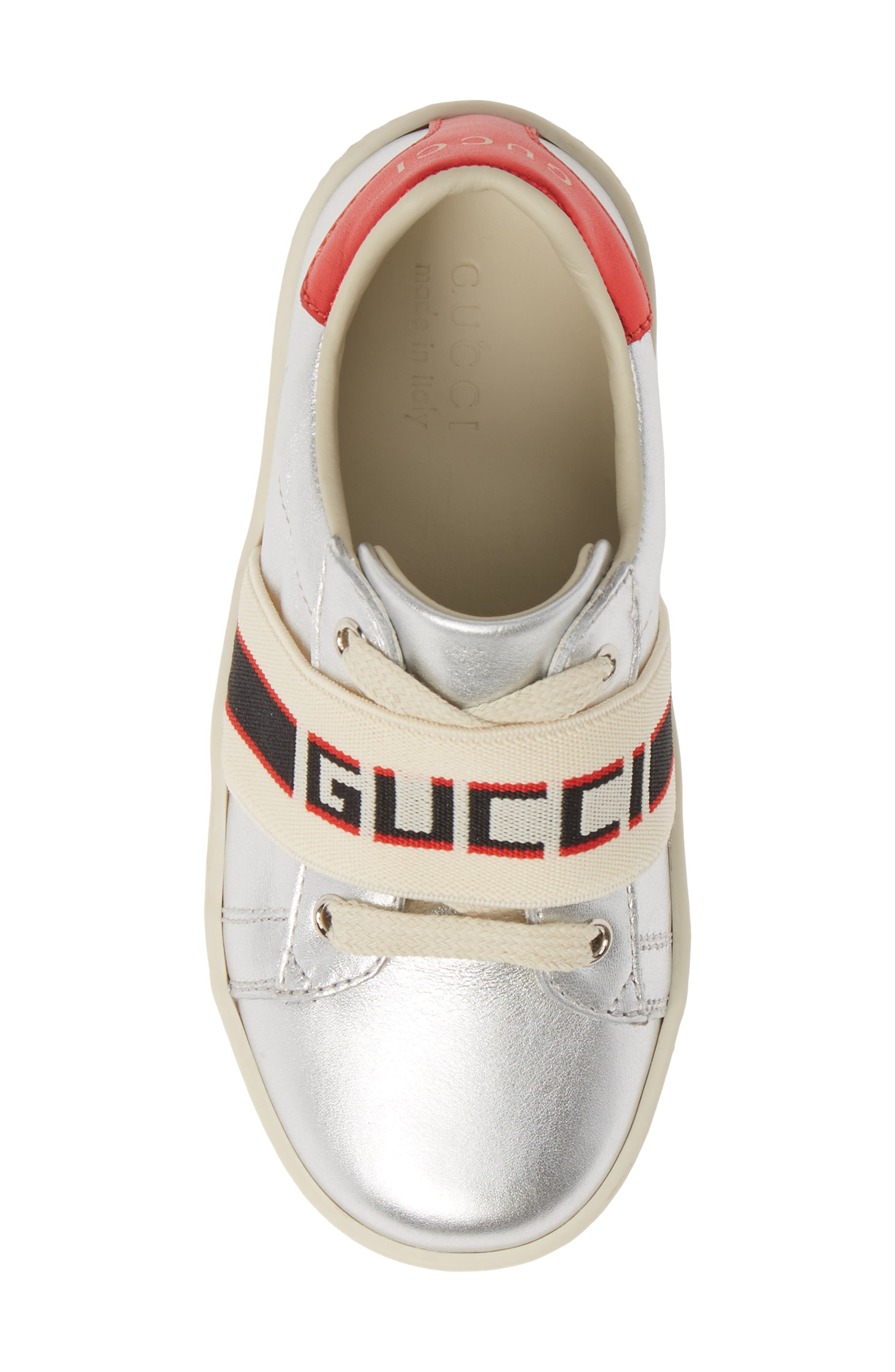 GUCCI, New Ace Stripe Sneaker, Alternate thumbnail 5, color, SILVER
