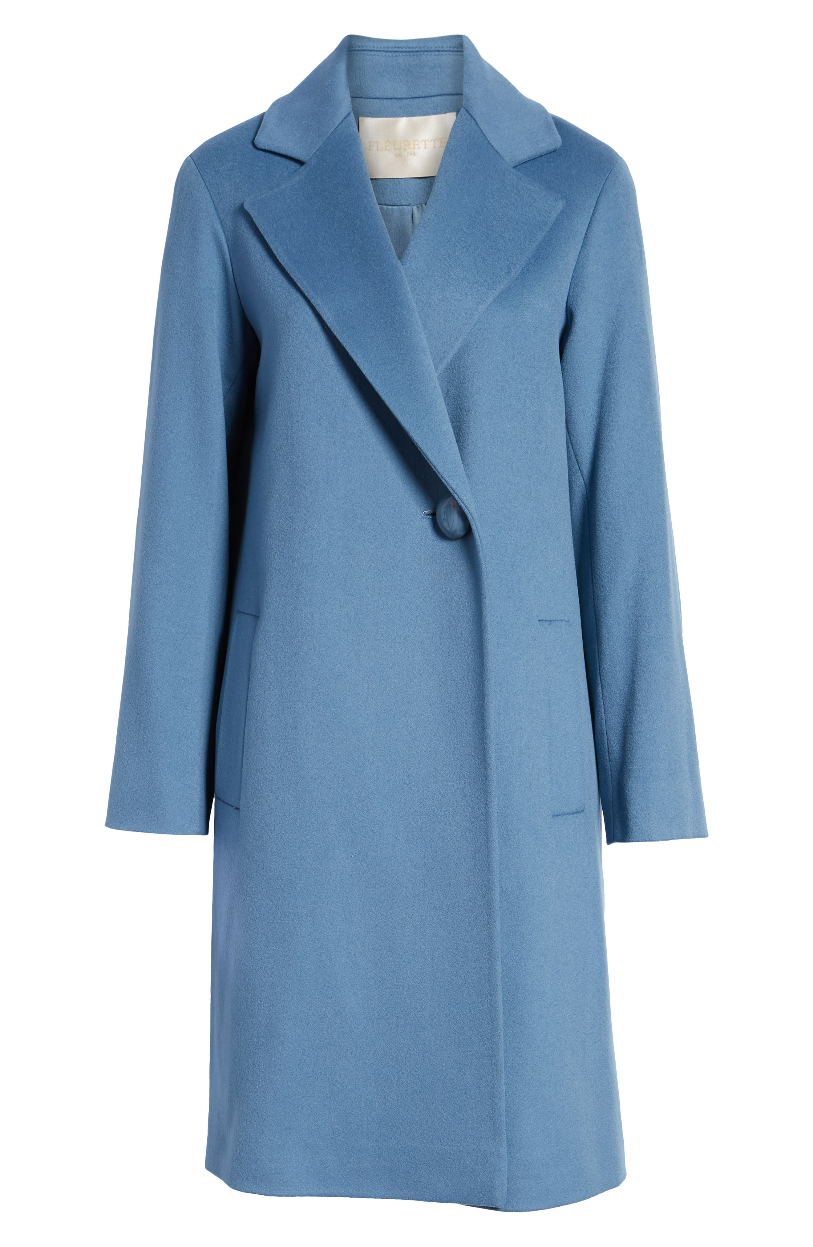 FLEURETTE, One-Button Loro Piana Wool Coat, Alternate thumbnail 6, color, CORNFLOWER
