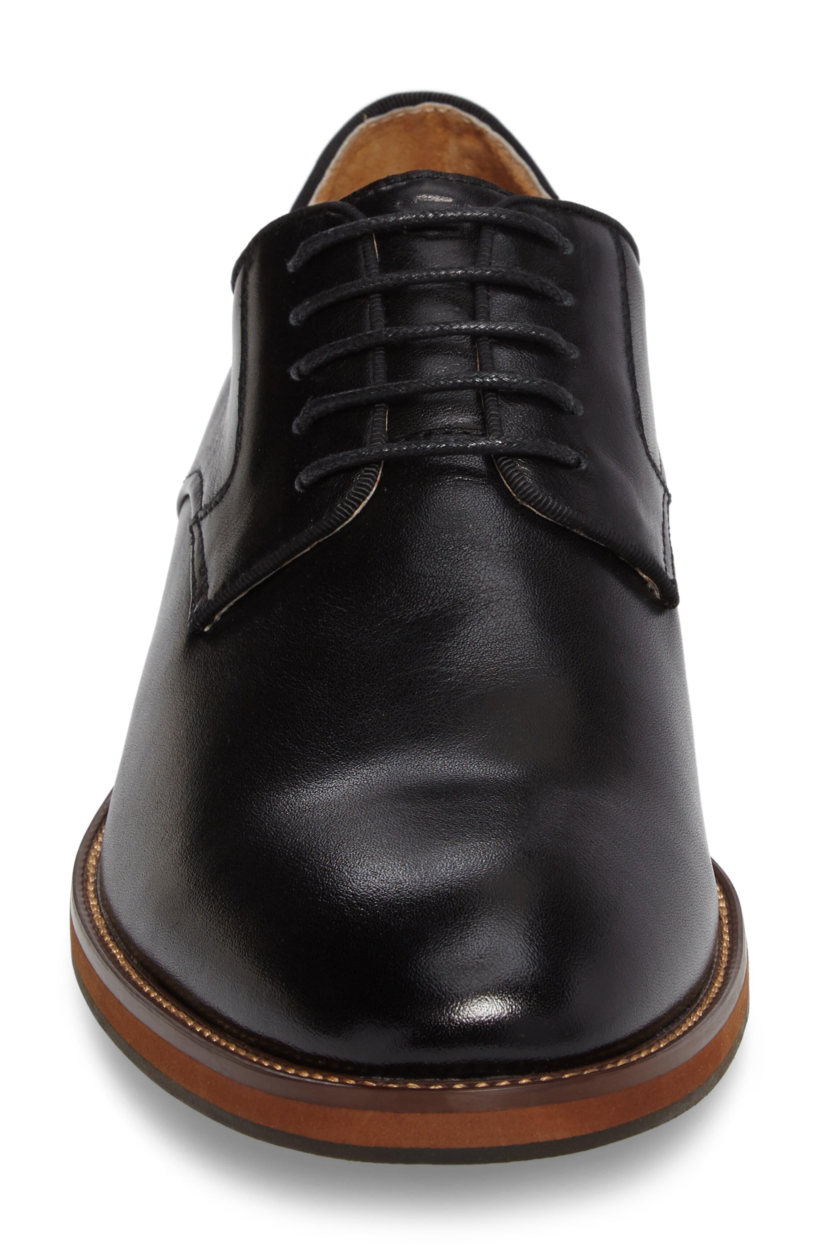 FLORSHEIM, Blaze Plain Toe Derby, Alternate thumbnail 4, color, BLACK LEATHER