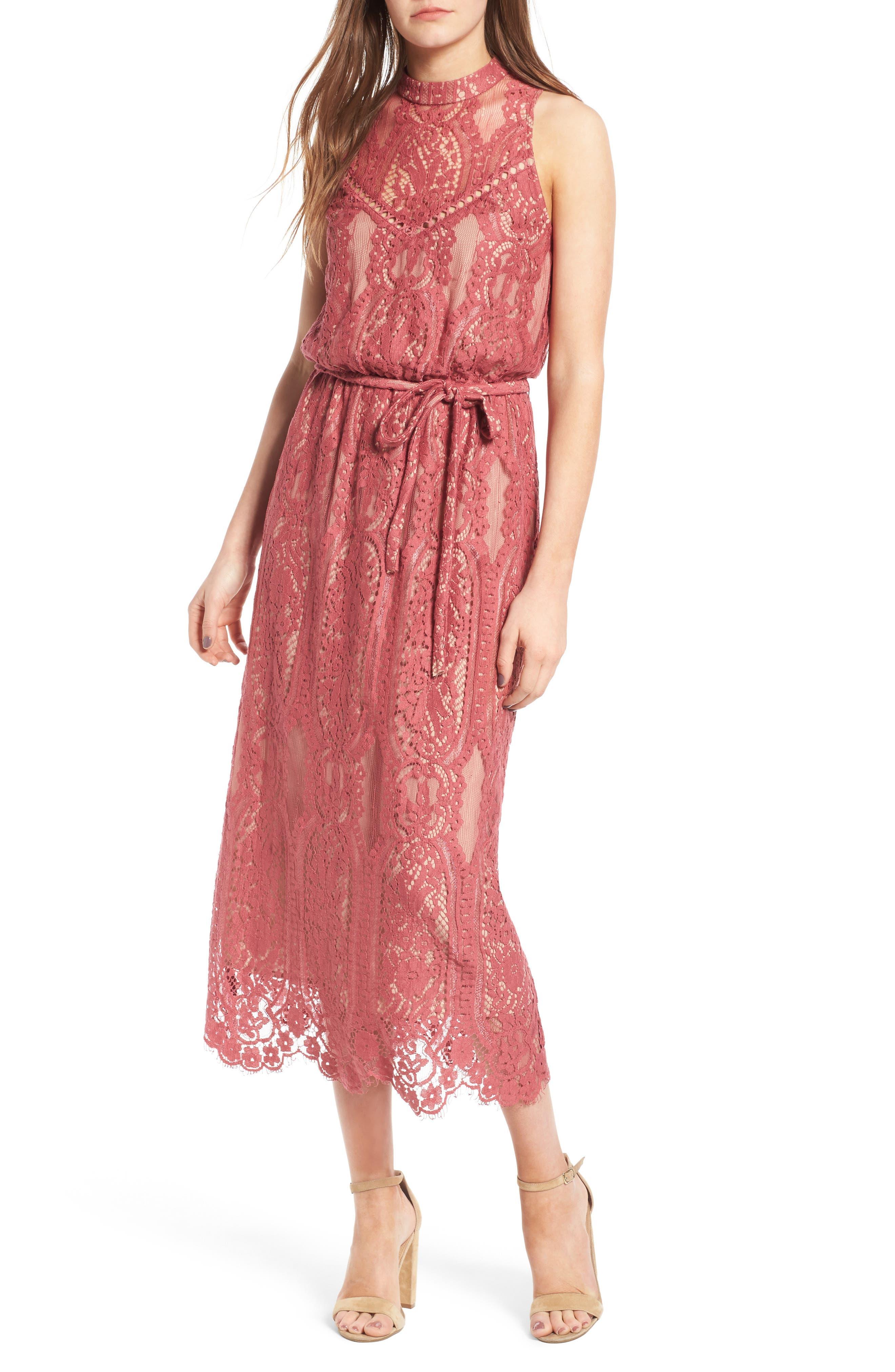 WAYF 'Portrait' Lace Midi Dress, Main, color, 650