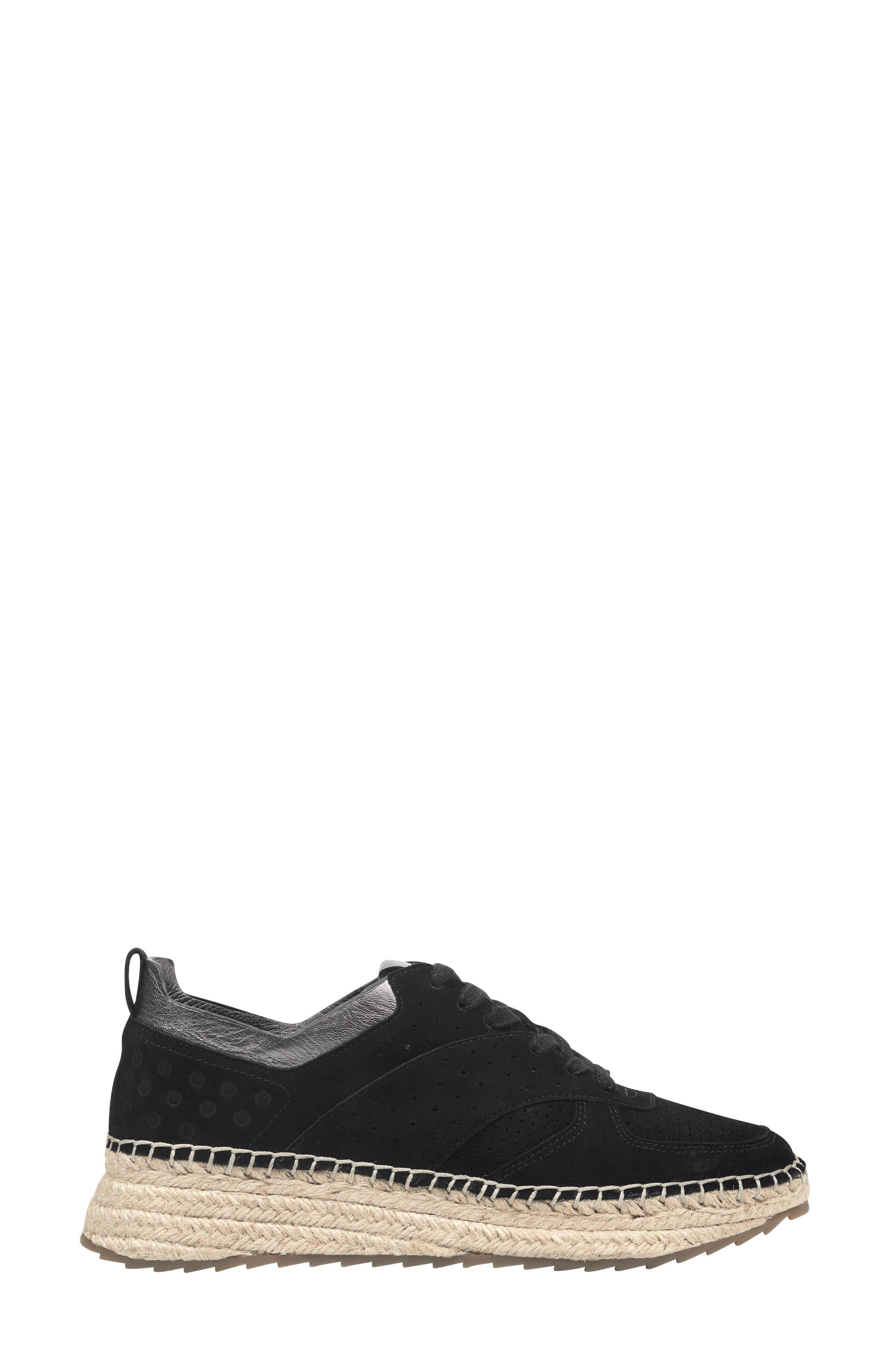 MARC FISHER LTD, Julio Sneaker, Alternate thumbnail 3, color, BLACK SUEDE