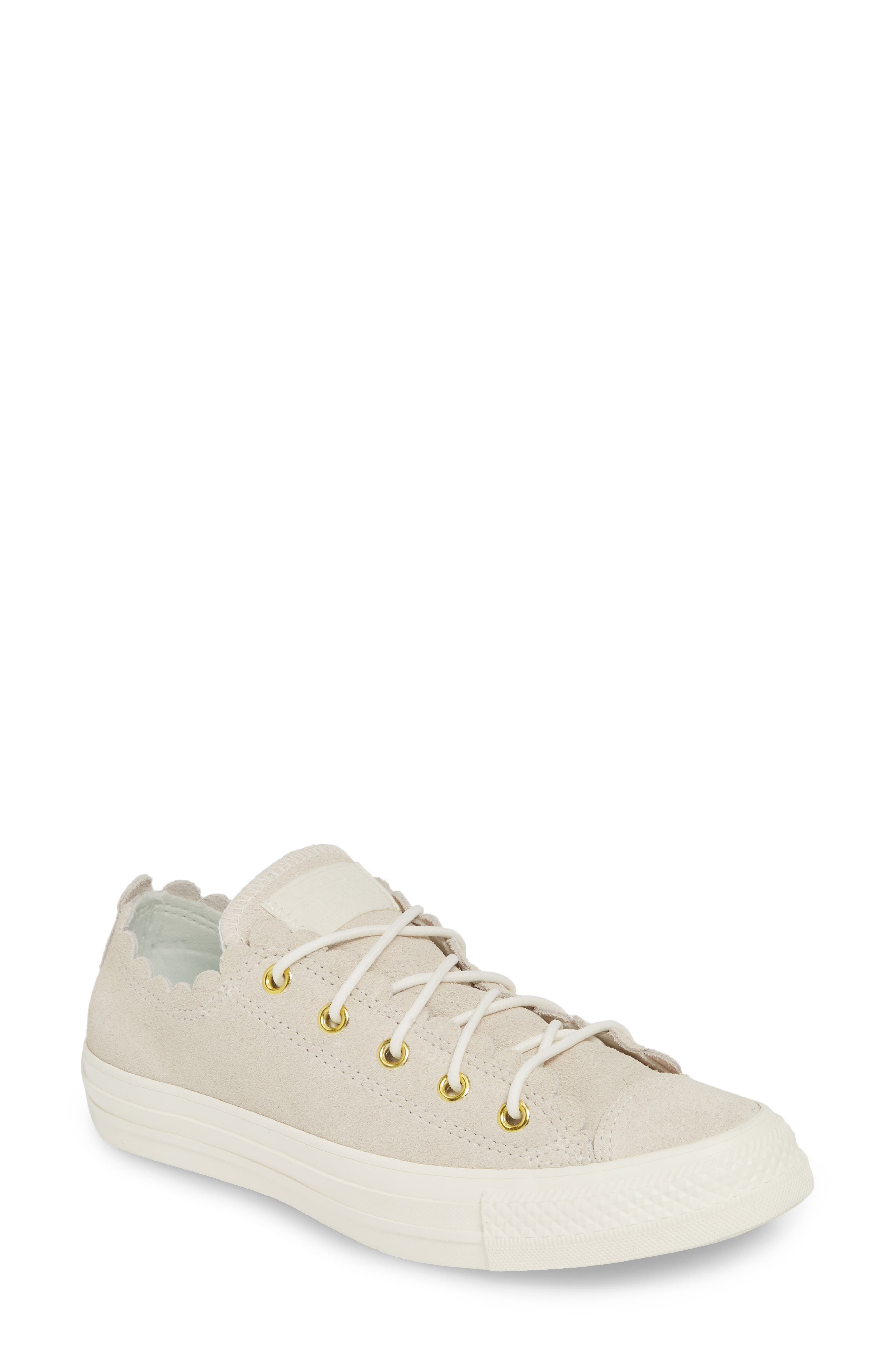 CONVERSE, Chuck Taylor<sup>®</sup> All Star<sup>®</sup> Scallop Low Top Leather Sneaker, Main thumbnail 1, color, EGRET/ GOLD/ EGRET