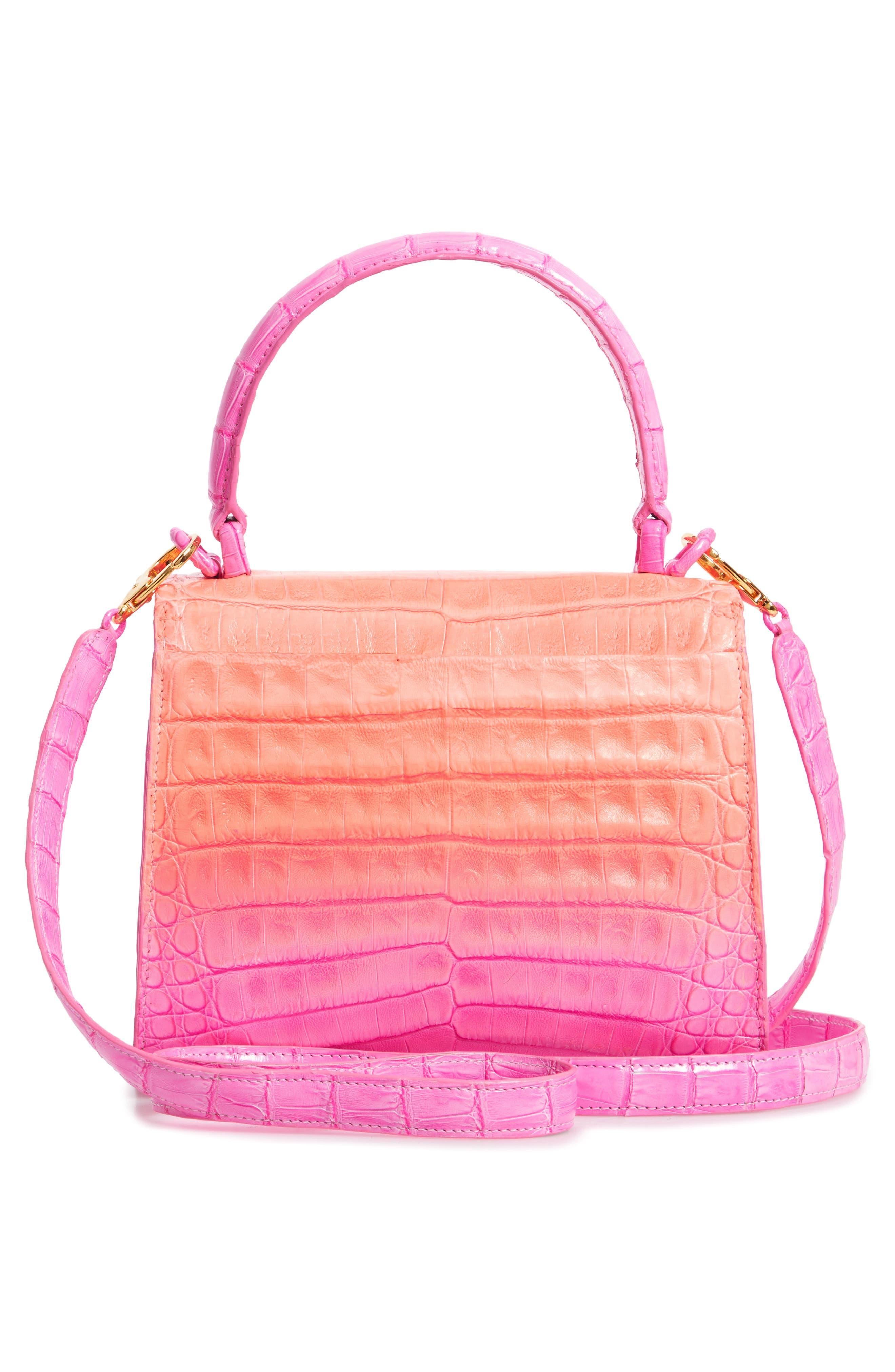 NANCY GONZALEZ, Mini Lily Genuine Crocodile Crossbody Bag, Alternate thumbnail 3, color, PINK DEGRADE