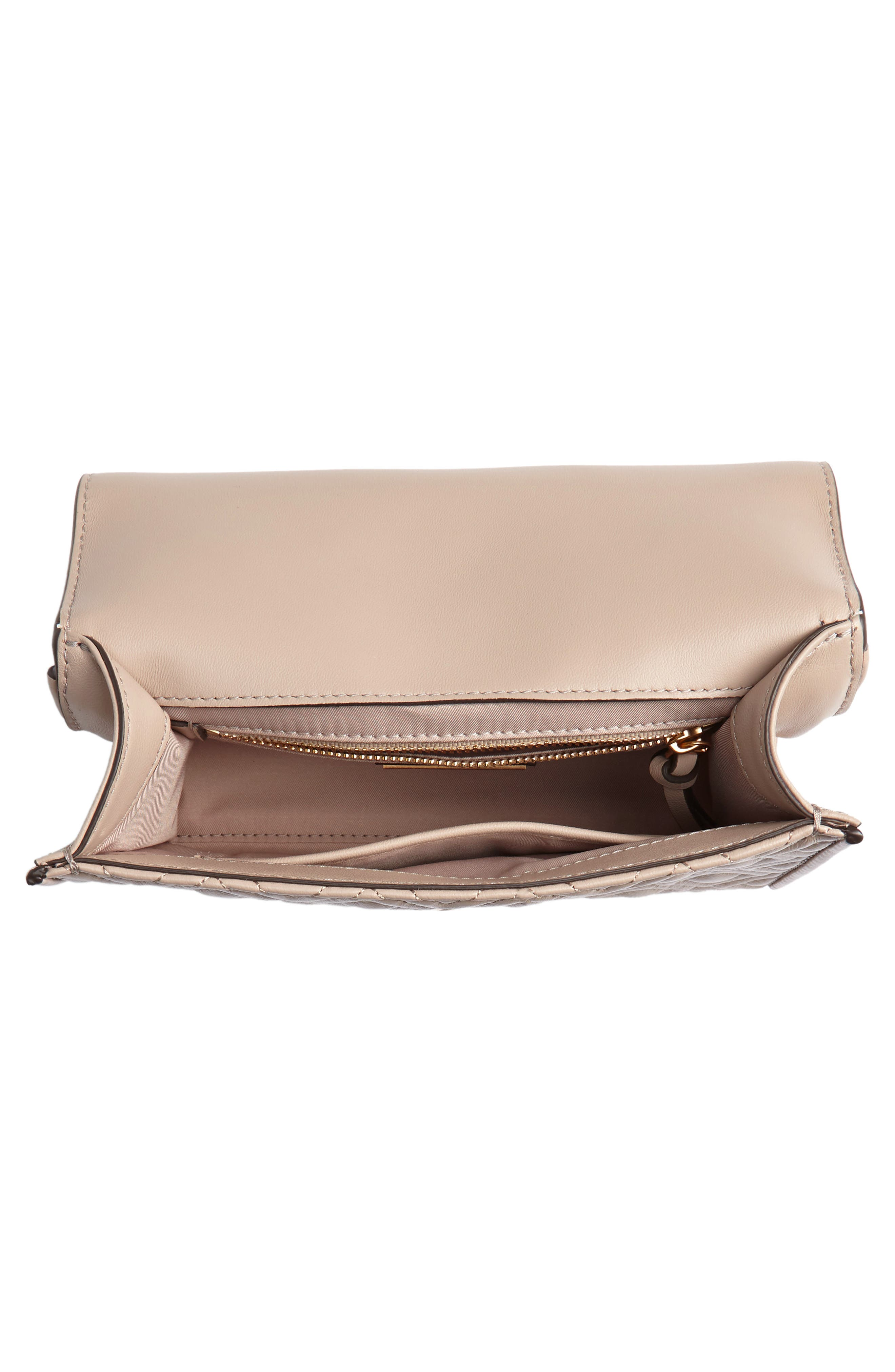 TORY BURCH, Small Fleming Leather Convertible Shoulder Bag, Alternate thumbnail 5, color, LIGHT TAUPE