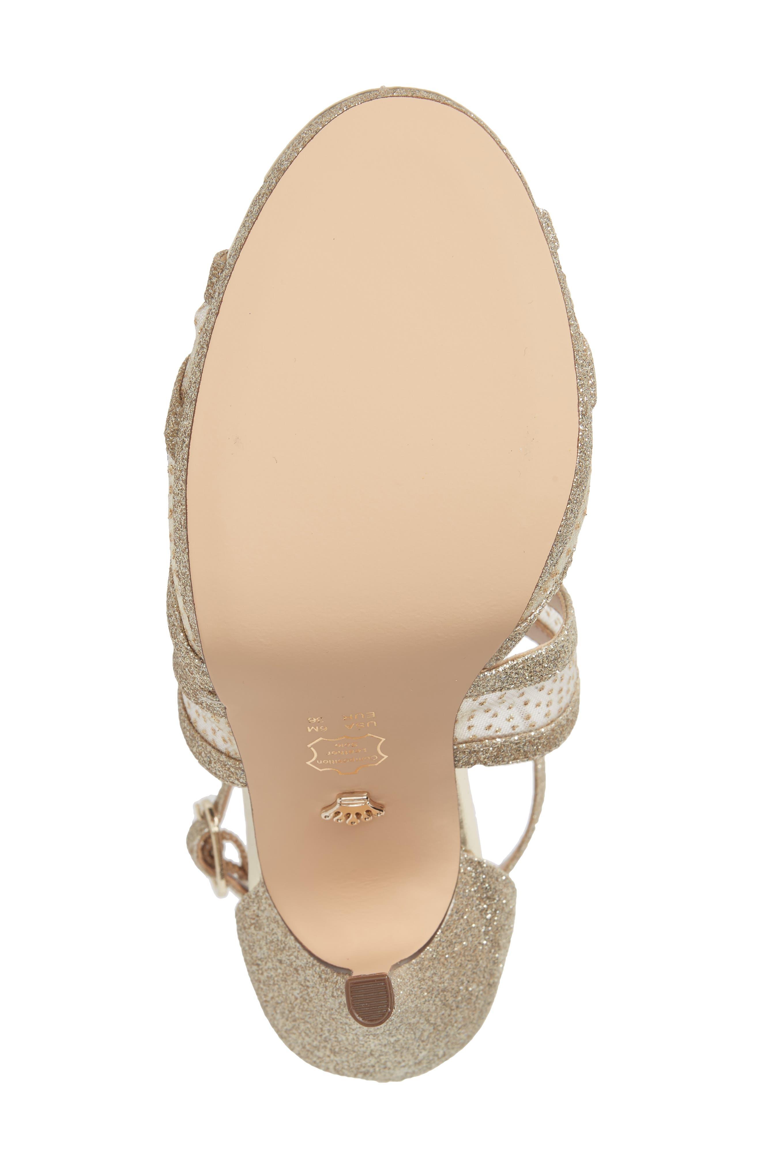 NINA, Fenna Strappy Platform Sandal, Alternate thumbnail 6, color, GOLD GLITTER FABRIC