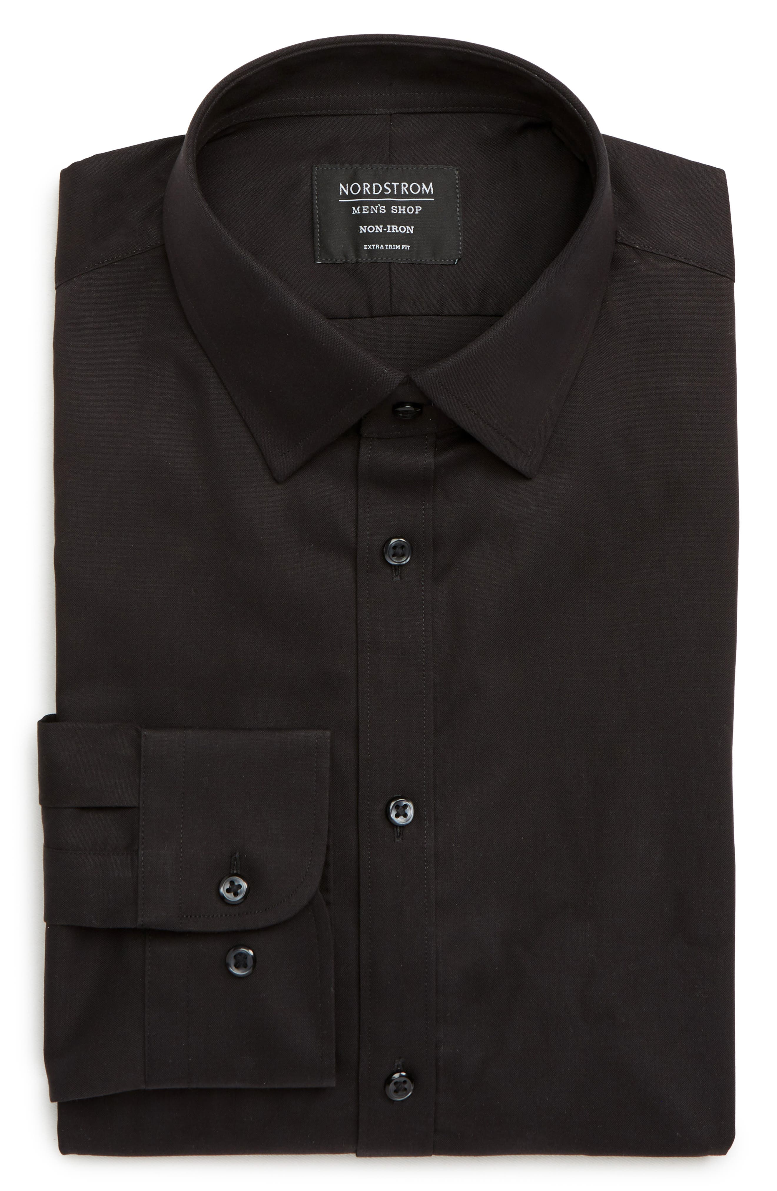NORDSTROM MEN'S SHOP, Extra Trim Fit Non-Iron Solid Dress Shirt, Alternate thumbnail 5, color, BLACK ROCK
