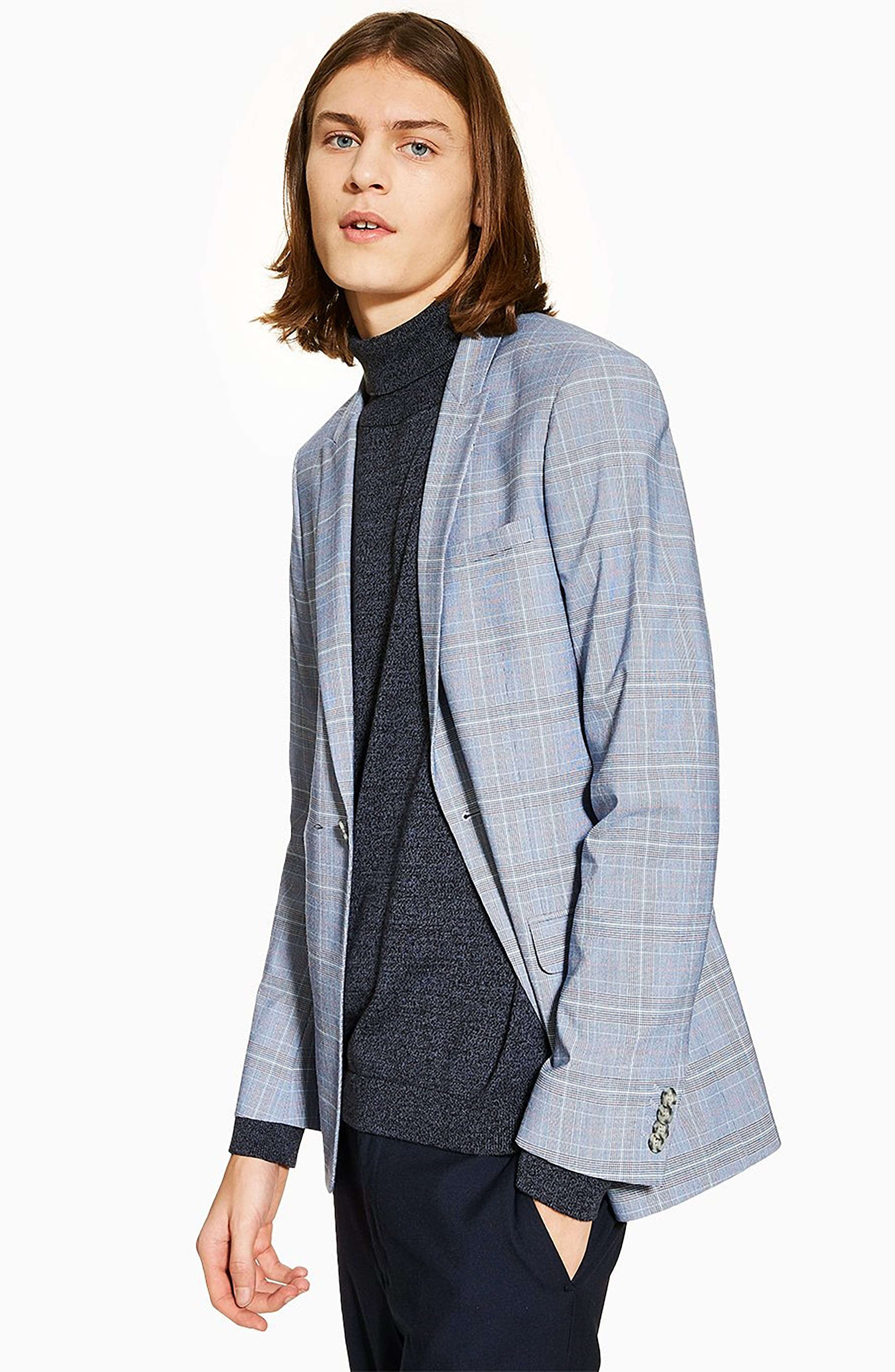 TOPMAN, Skinny Fit Suit Jacket, Alternate thumbnail 5, color, BLUE MULTI