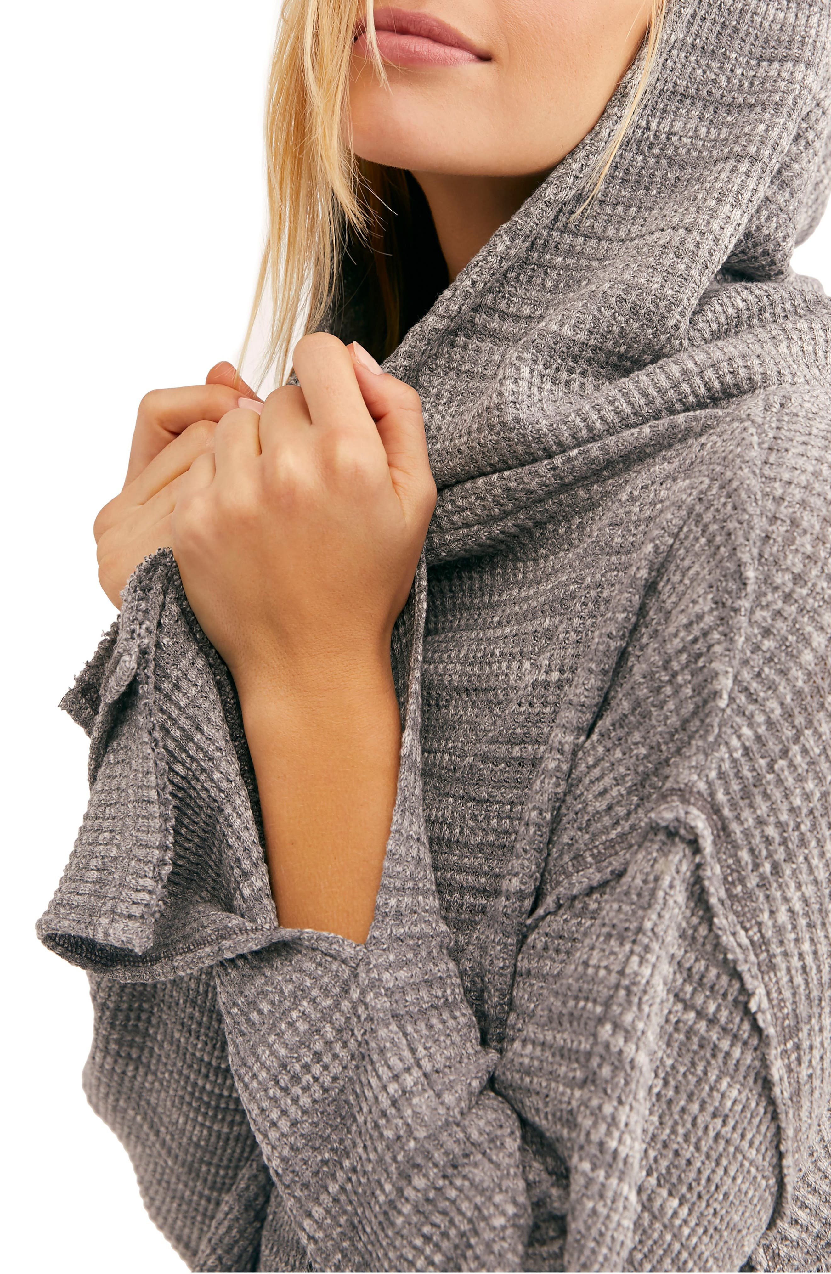 FREE PEOPLE, Endless Summer by Free People Hooded Knit Top, Alternate thumbnail 3, color, GREY