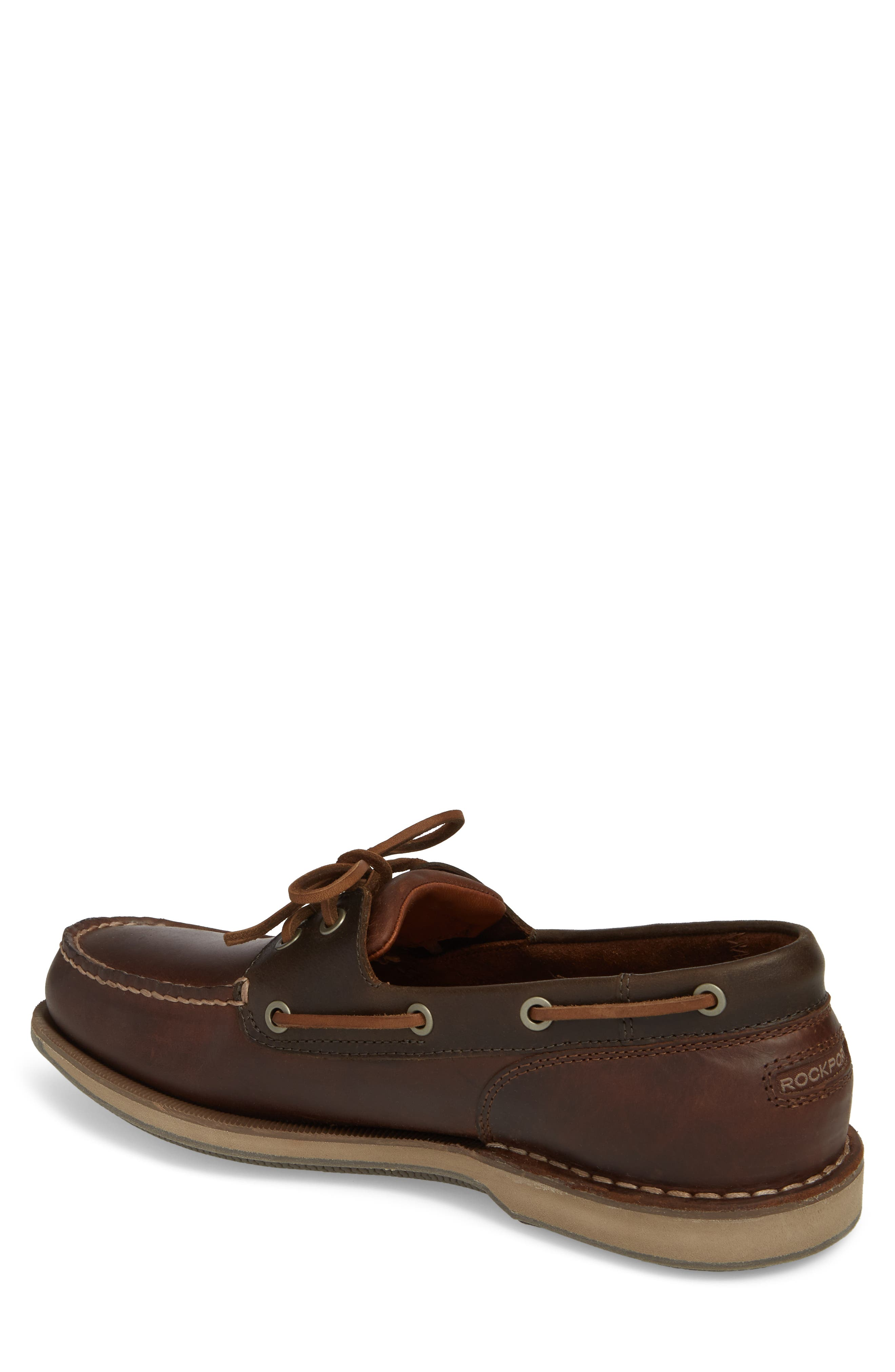 ROCKPORT, 'Perth' Boat Shoe, Alternate thumbnail 2, color, DARK BROWN LEATHER