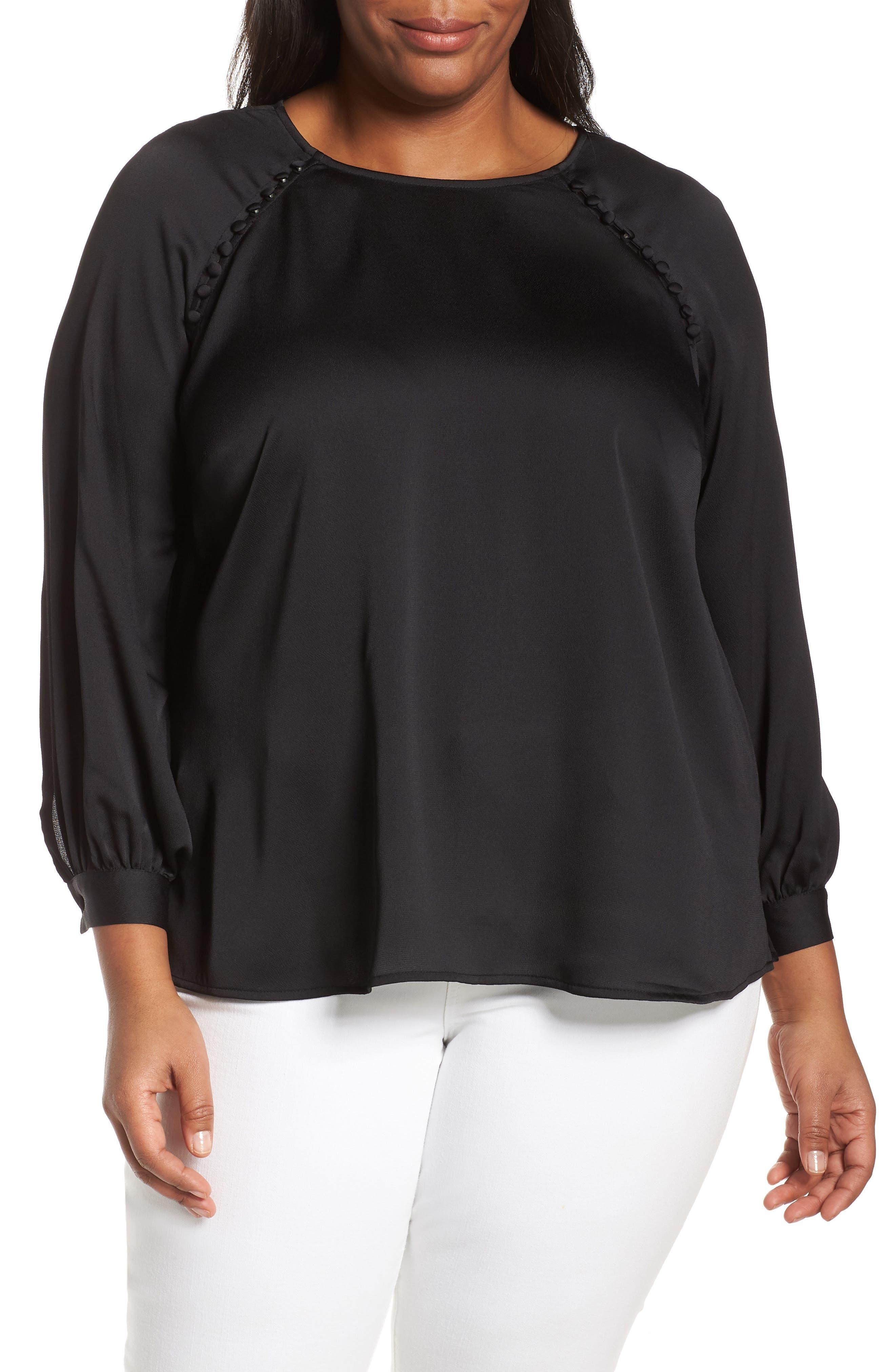 VINCE CAMUTO Button Shoulder Bubble Sleeve Satin Blouse, Main, color, RICH BLACK