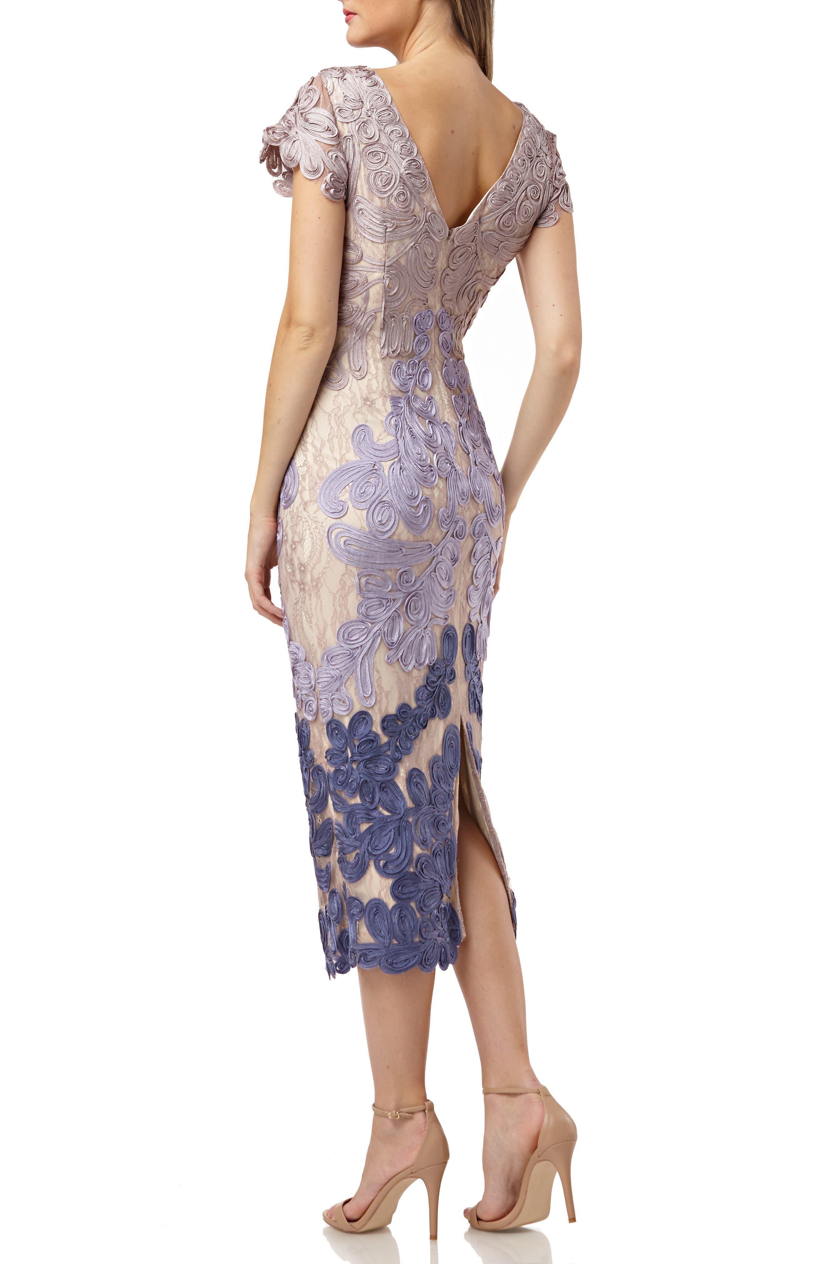 JS COLLECTIONS, Soutache Lace Midi Dress, Alternate thumbnail 2, color, TAUPE/ PLUM