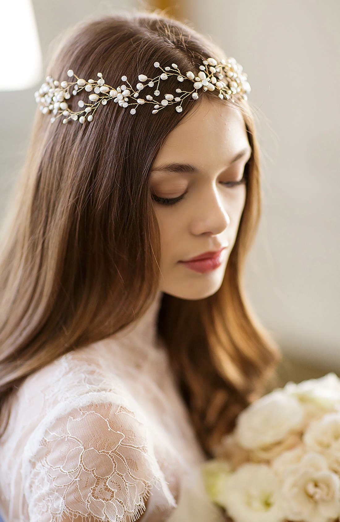 BRIDES & HAIRPINS 'Arabella' Jeweled Halo & Sash, Main, color, OPAL