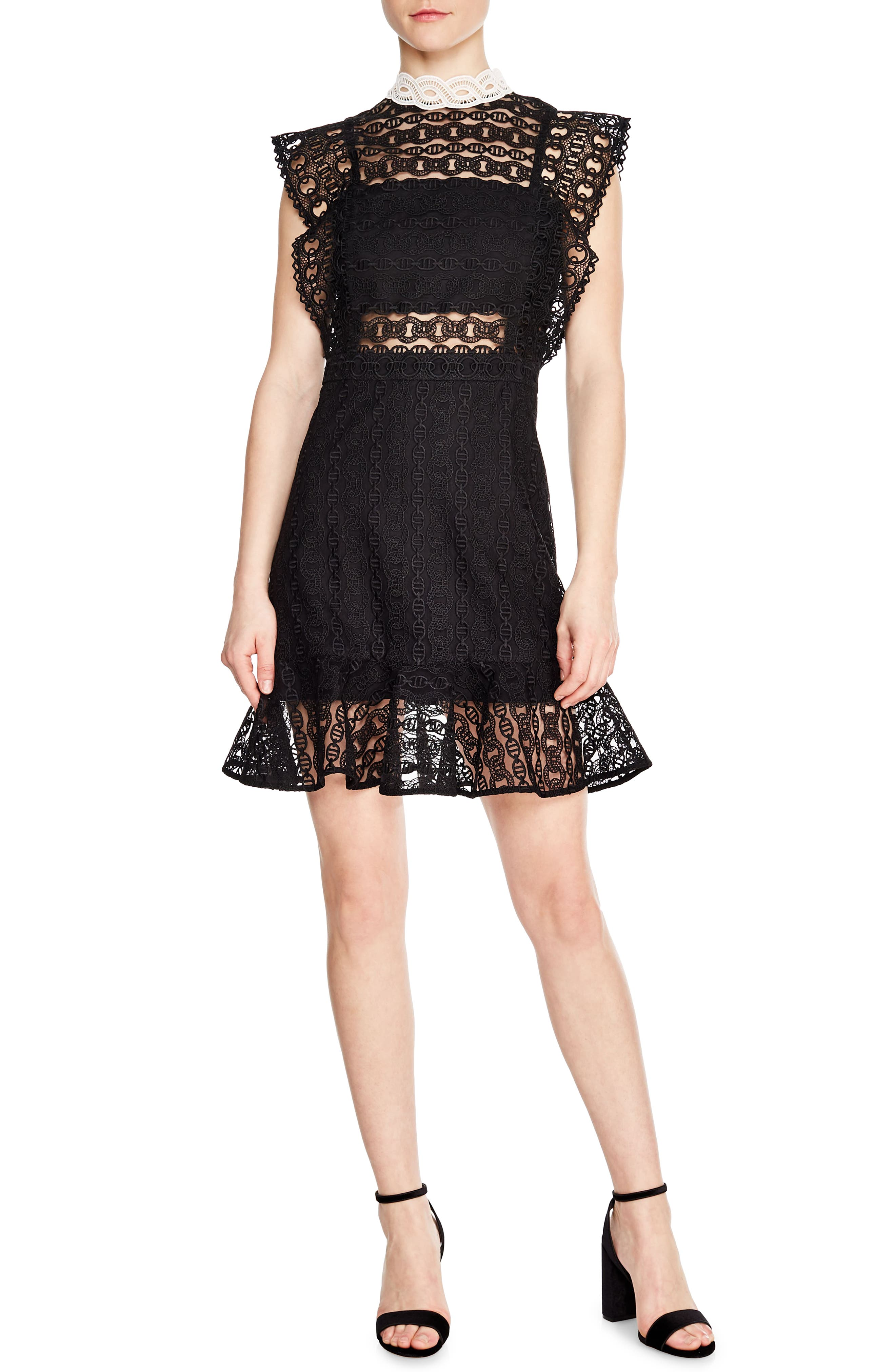SANDRO France Chain Link Lace Dress, Main, color, BLACK