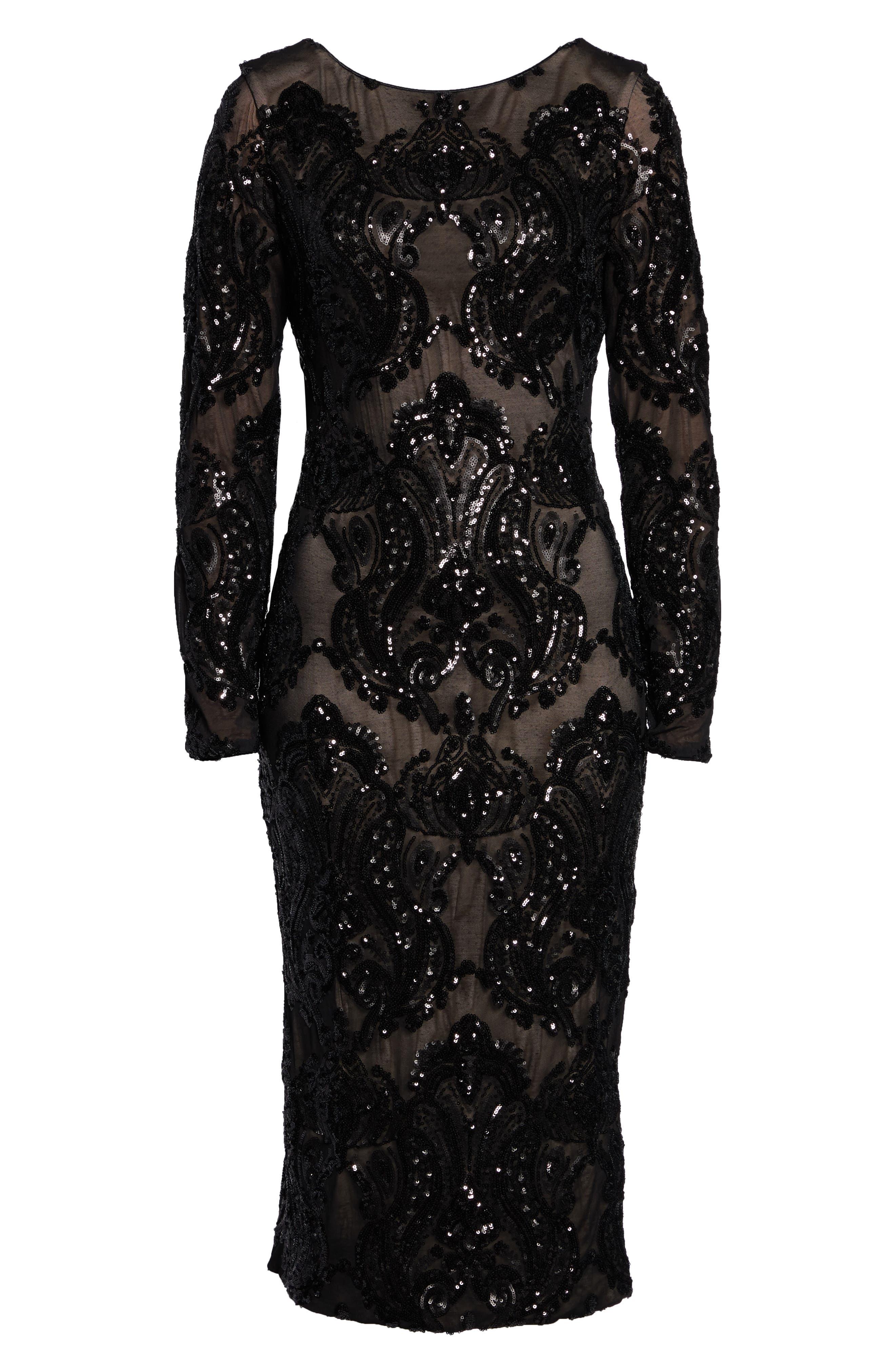 DRESS THE POPULATION, Emery Sequin Sheath Dress, Alternate thumbnail 5, color, BLACK/ NUDE