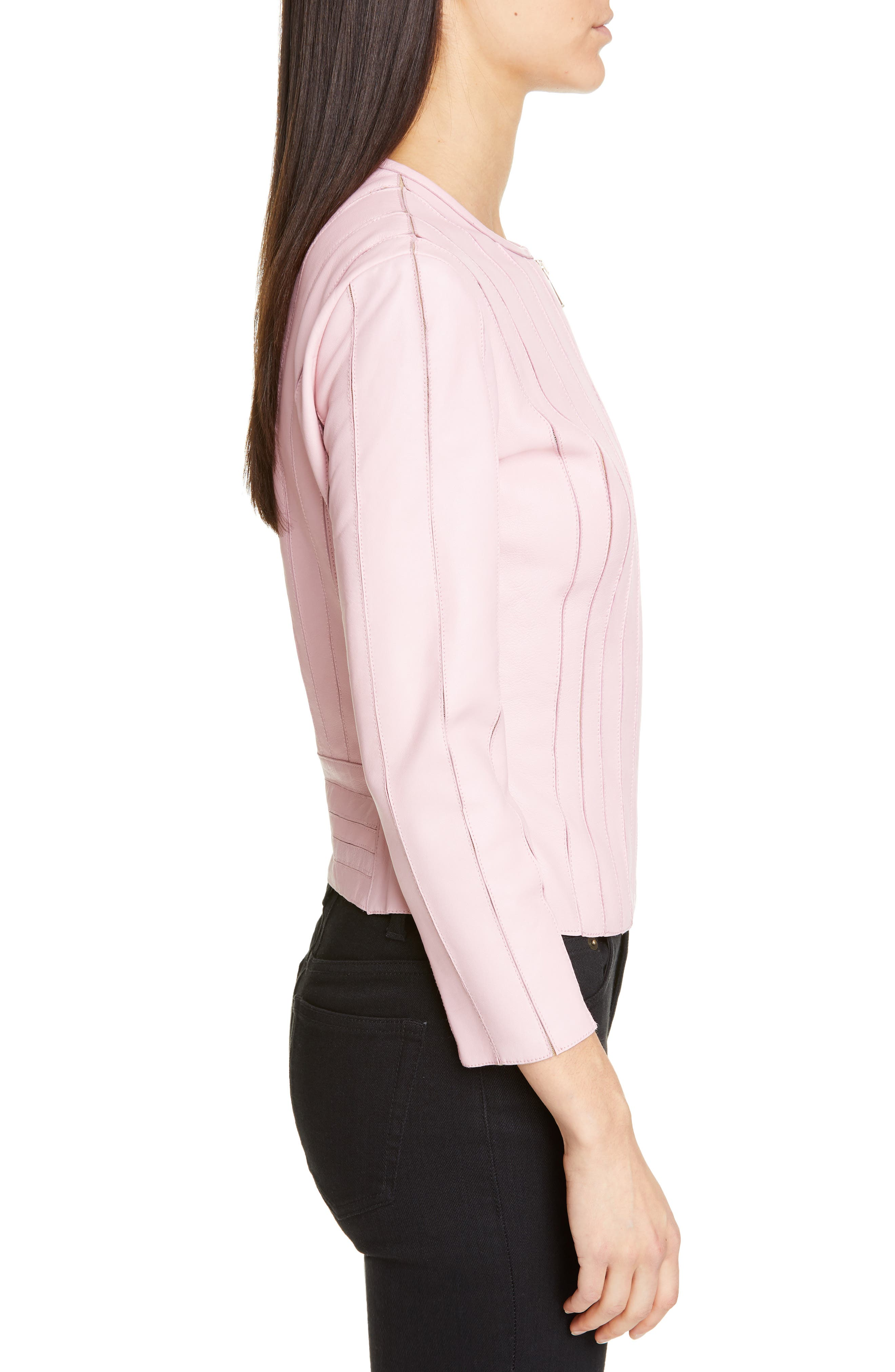 VERSACE COLLECTION, Mesh Rib Leather Jacket, Alternate thumbnail 3, color, PASTEL ROSE